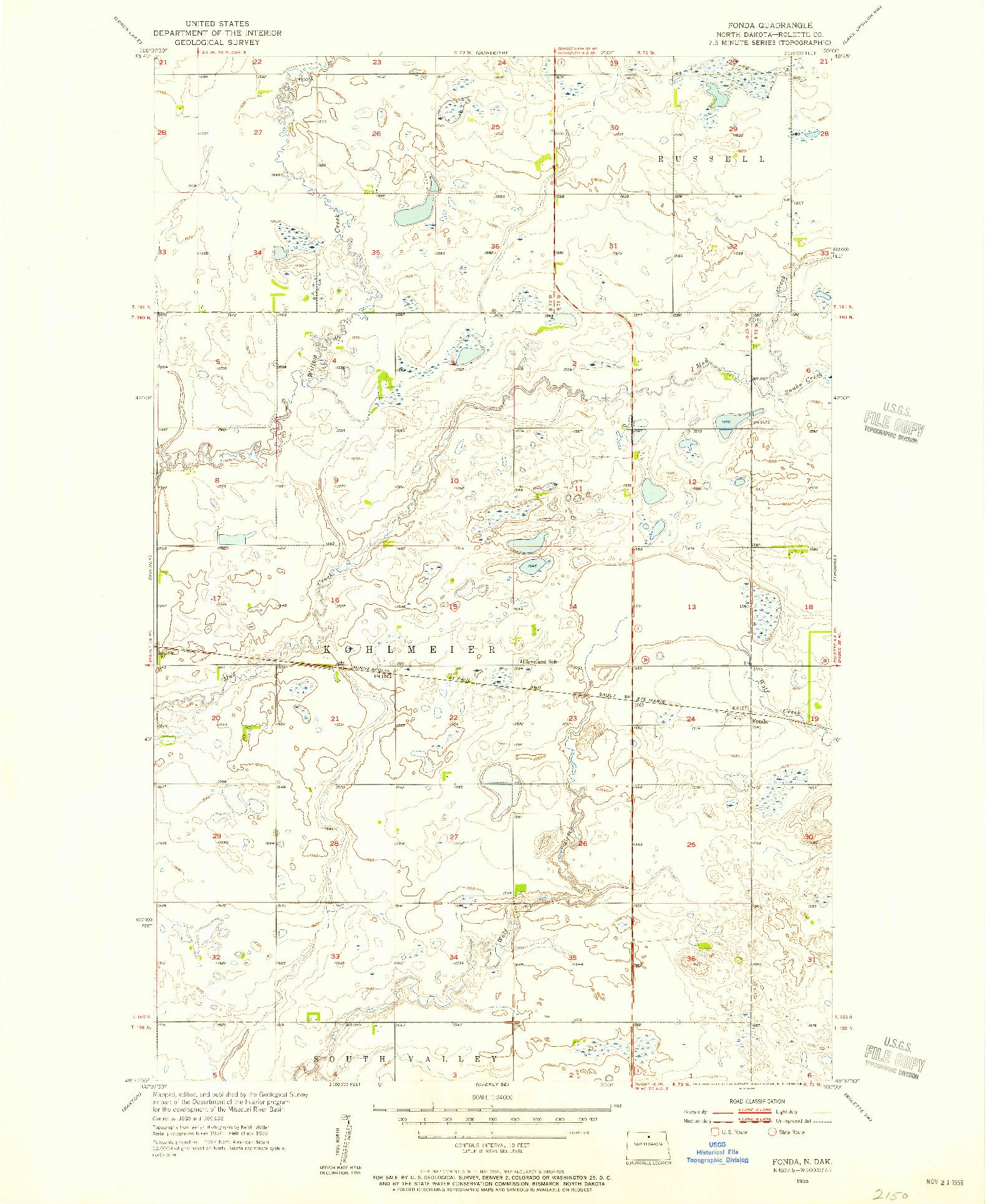 USGS 1:24000-SCALE QUADRANGLE FOR FONDA, ND 1955