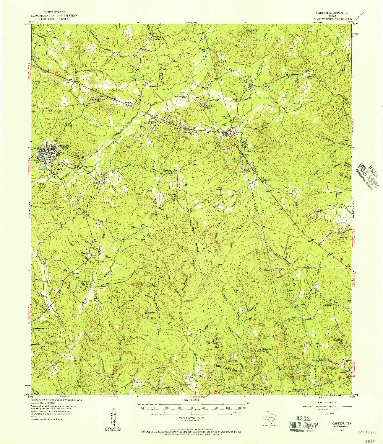 USGS 1:62500-SCALE QUADRANGLE FOR CAMDEN, TX 1955