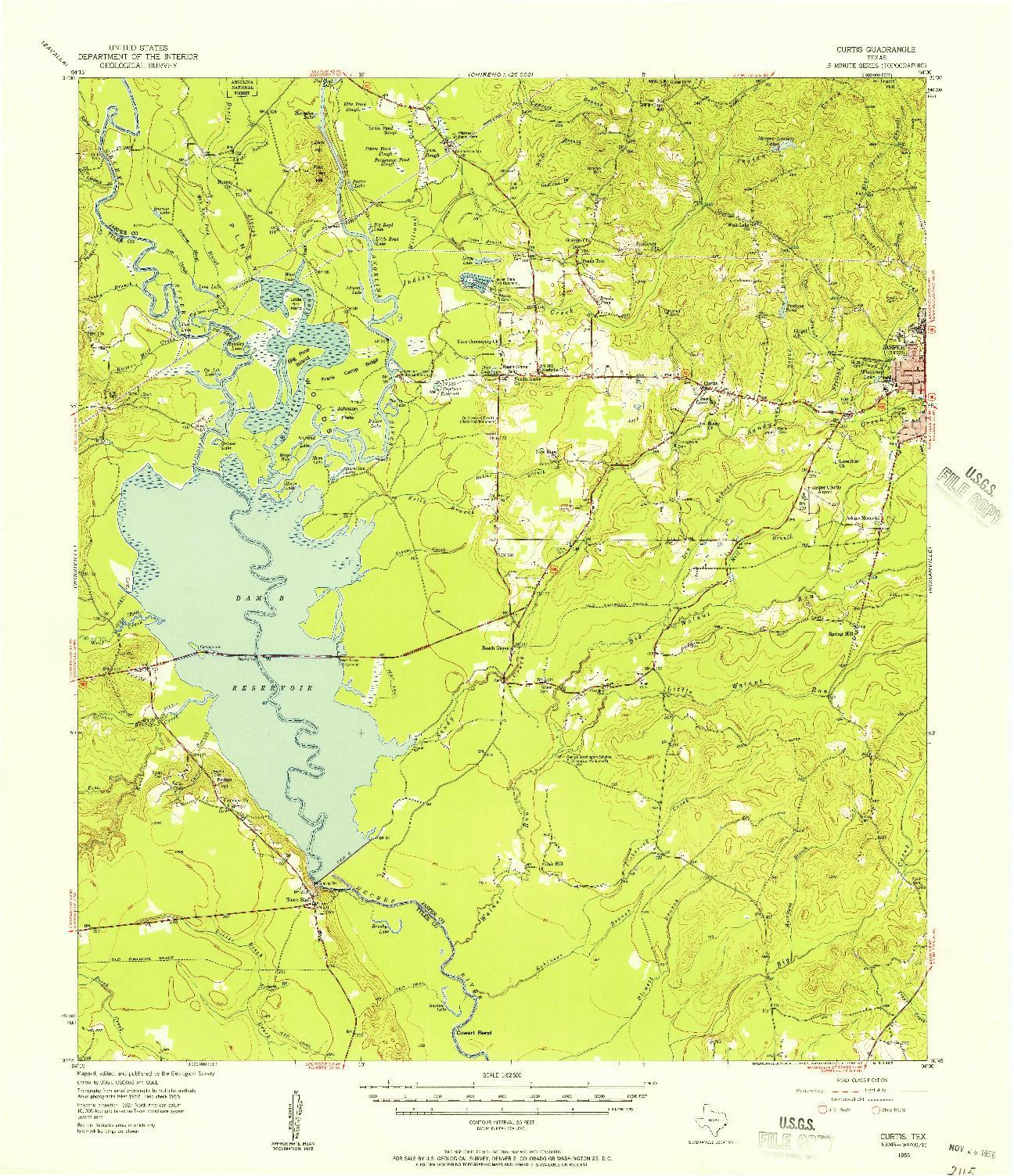 USGS 1:62500-SCALE QUADRANGLE FOR CURTIS, TX 1955