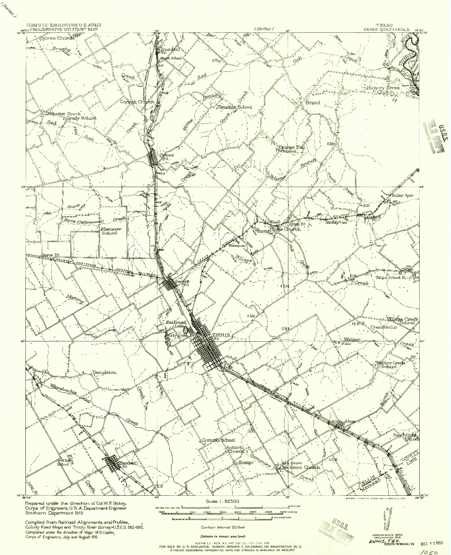 USGS 1:62500-SCALE QUADRANGLE FOR ENNIS, TX 1956