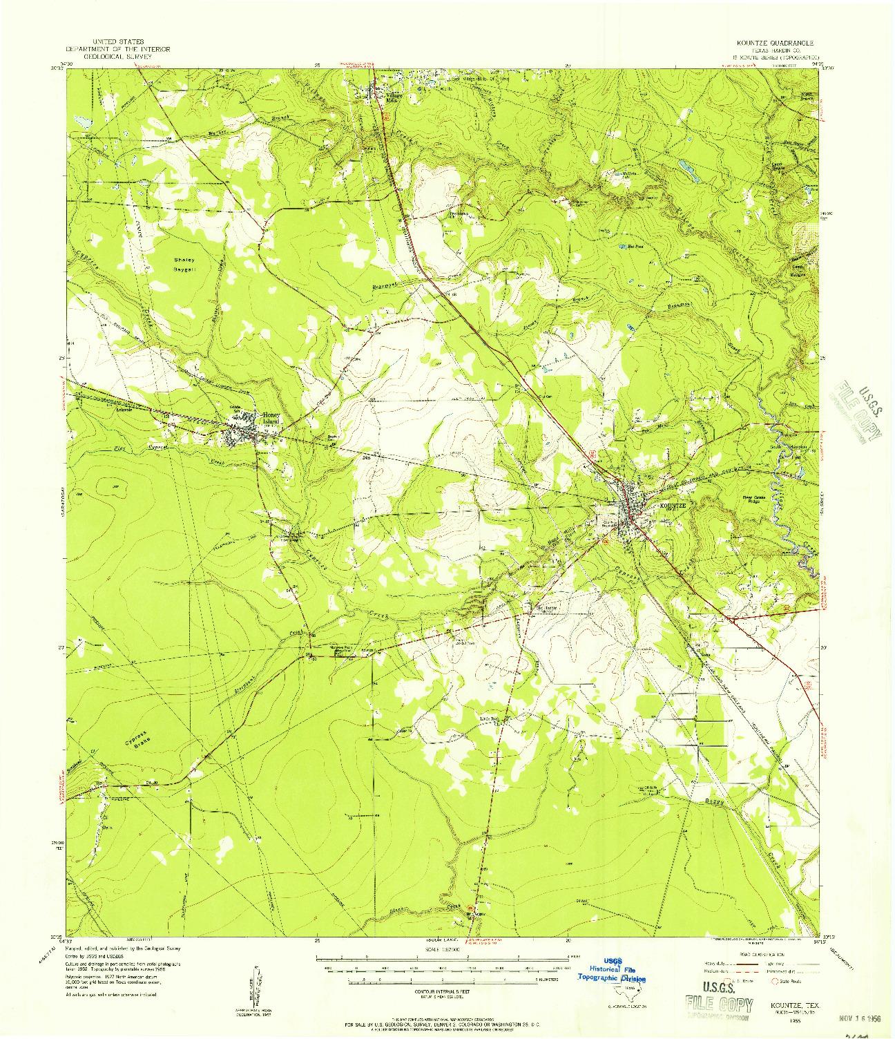USGS 1:62500-SCALE QUADRANGLE FOR KOUNTZE, TX 1955