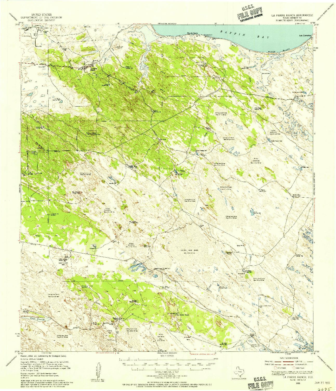 USGS 1:62500-SCALE QUADRANGLE FOR LA PARRA RANCH, TX 1955