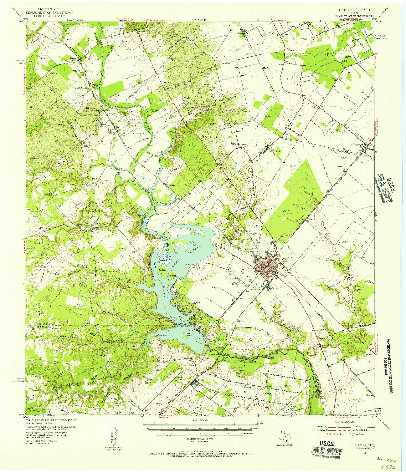 USGS 1:62500-SCALE QUADRANGLE FOR MATHIS, TX 1954