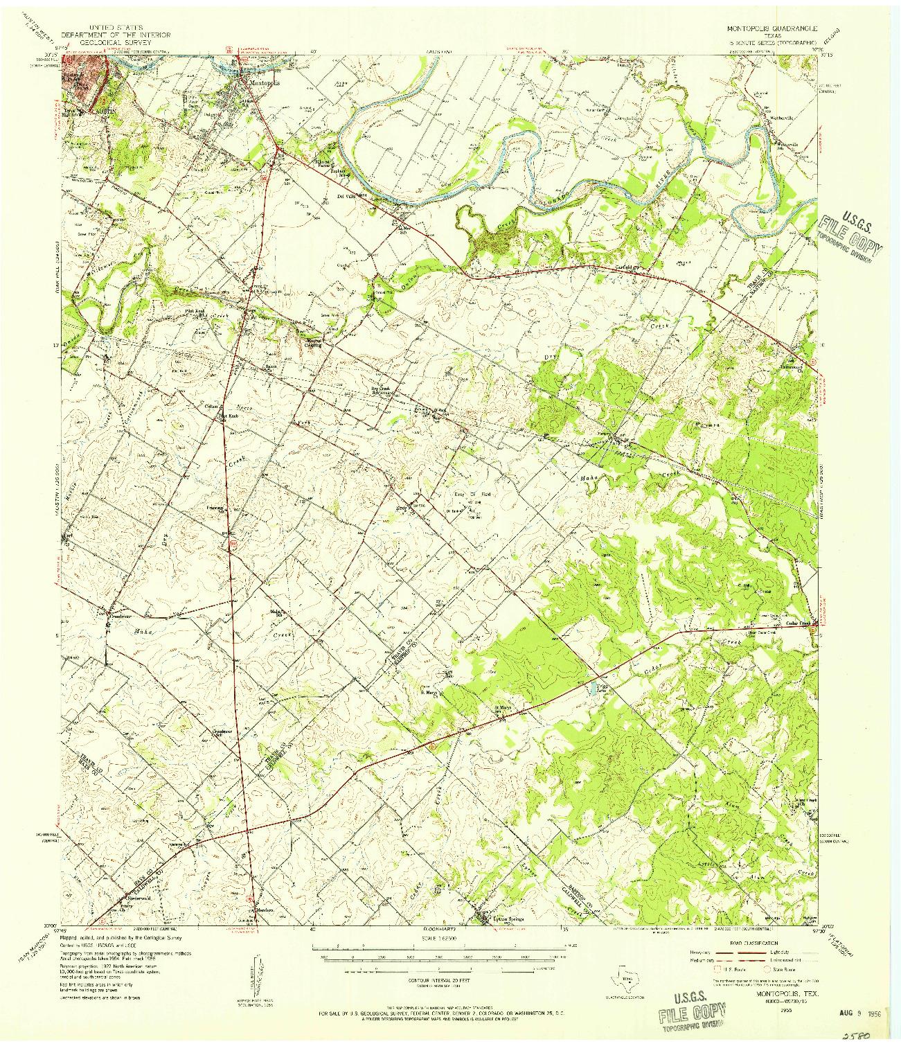 USGS 1:62500-SCALE QUADRANGLE FOR MONTOPOLIS, TX 1955
