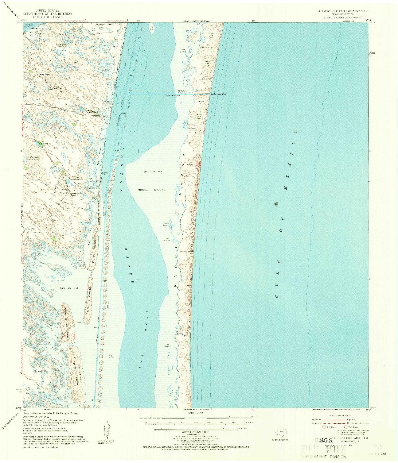 USGS 1:62500-SCALE QUADRANGLE FOR POTRERO CORTADO, TX 1955