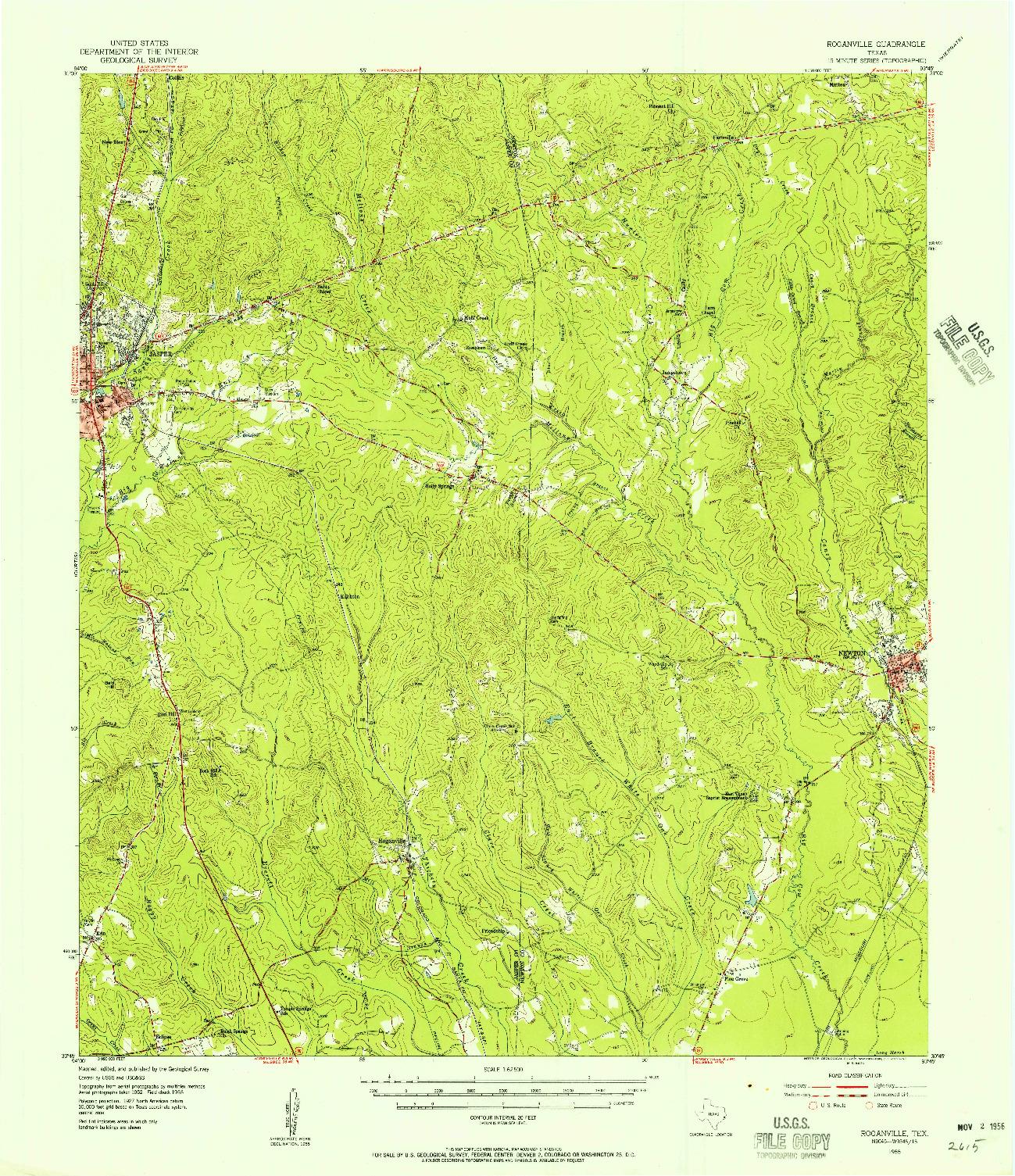 USGS 1:62500-SCALE QUADRANGLE FOR ROGANVILLE, TX 1955