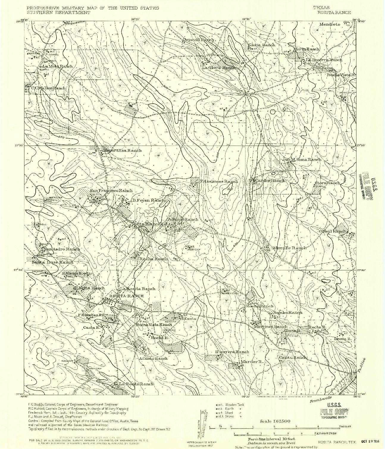 USGS 1:62500-SCALE QUADRANGLE FOR ROSITA RANCH, TX 1956