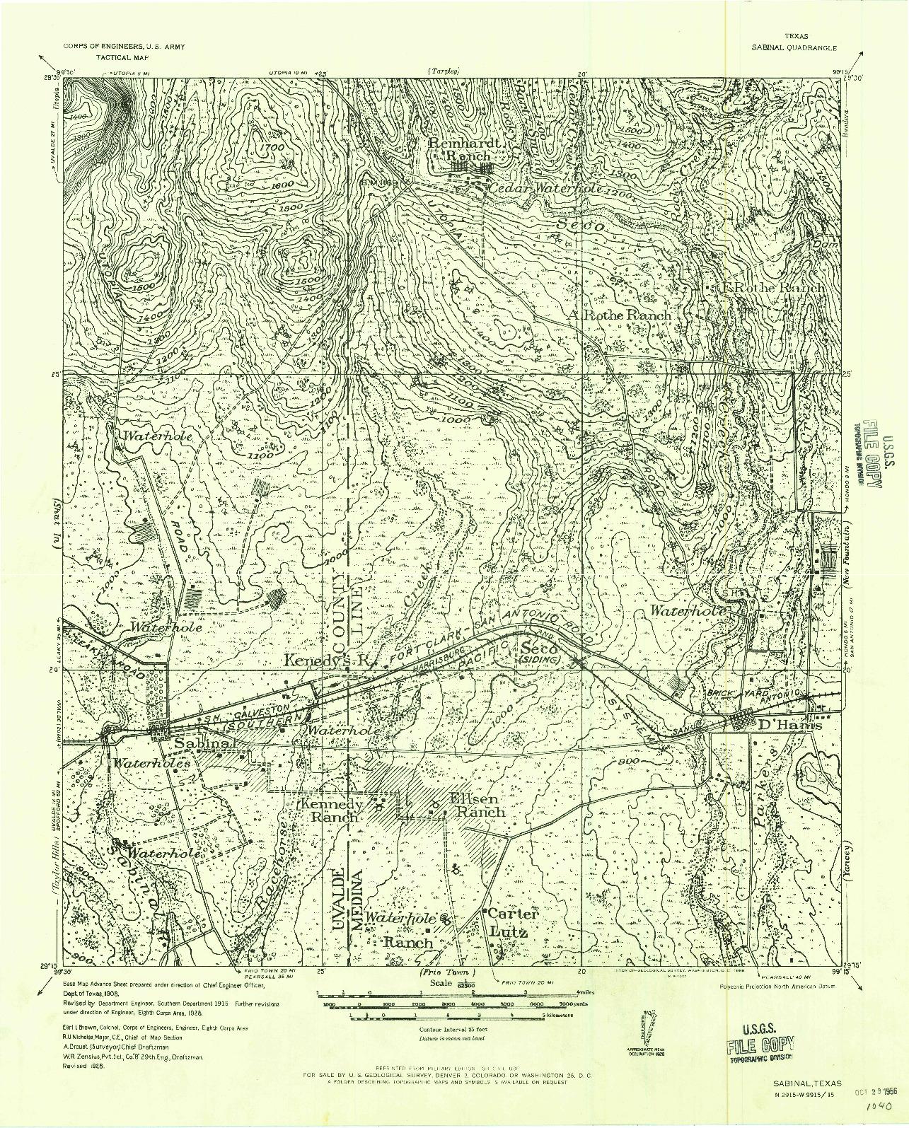 USGS 1:62500-SCALE QUADRANGLE FOR SABINAL, TX 1956