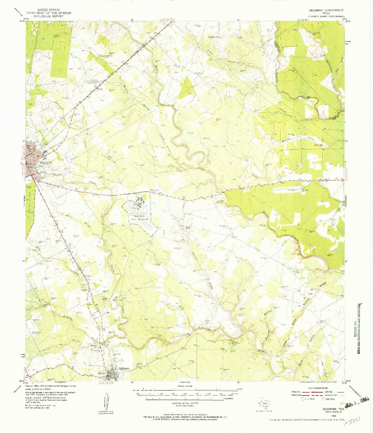 USGS 1:62500-SCALE QUADRANGLE FOR SKIDMORE, TX 1954