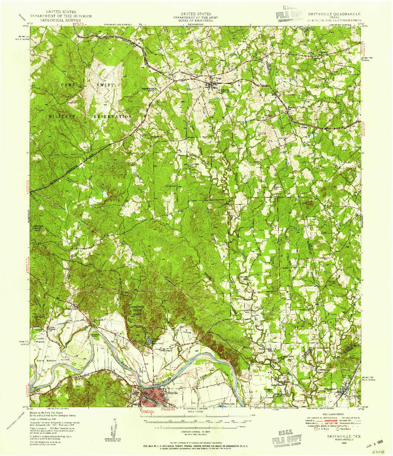USGS 1:62500-SCALE QUADRANGLE FOR SMITHVILLE, TX 1948
