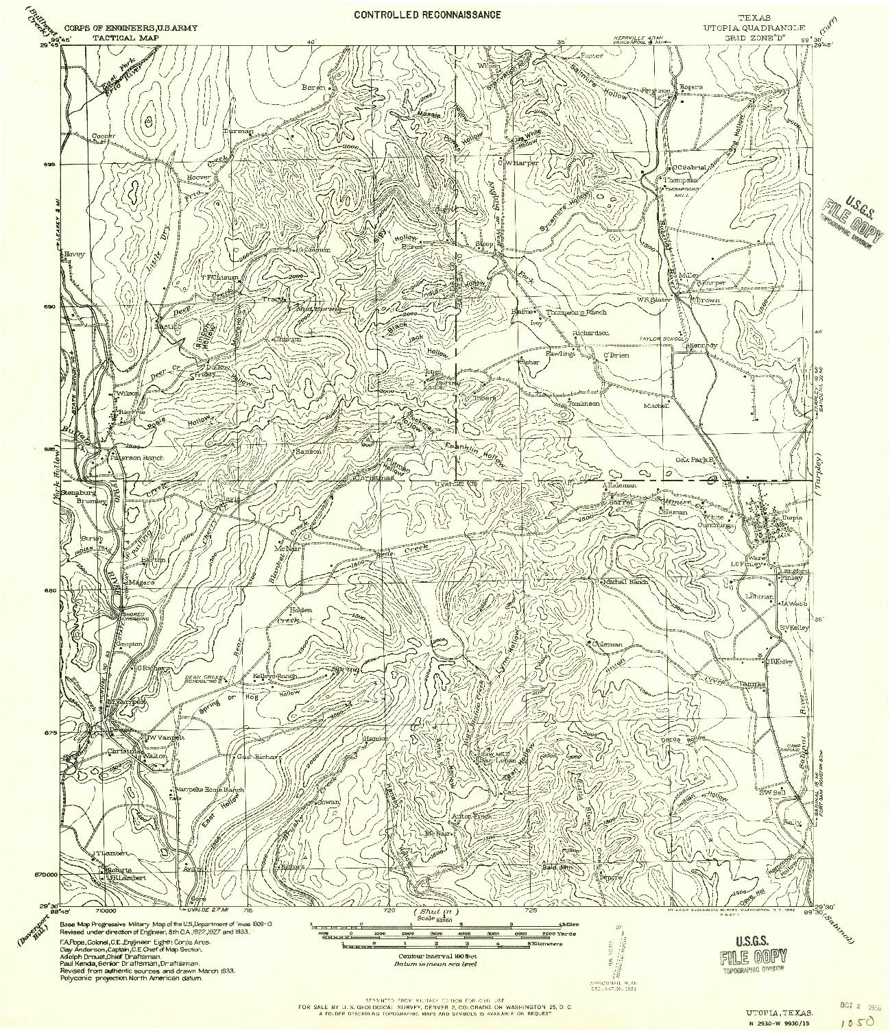USGS 1:62500-SCALE QUADRANGLE FOR UTOPIA, TX 1956