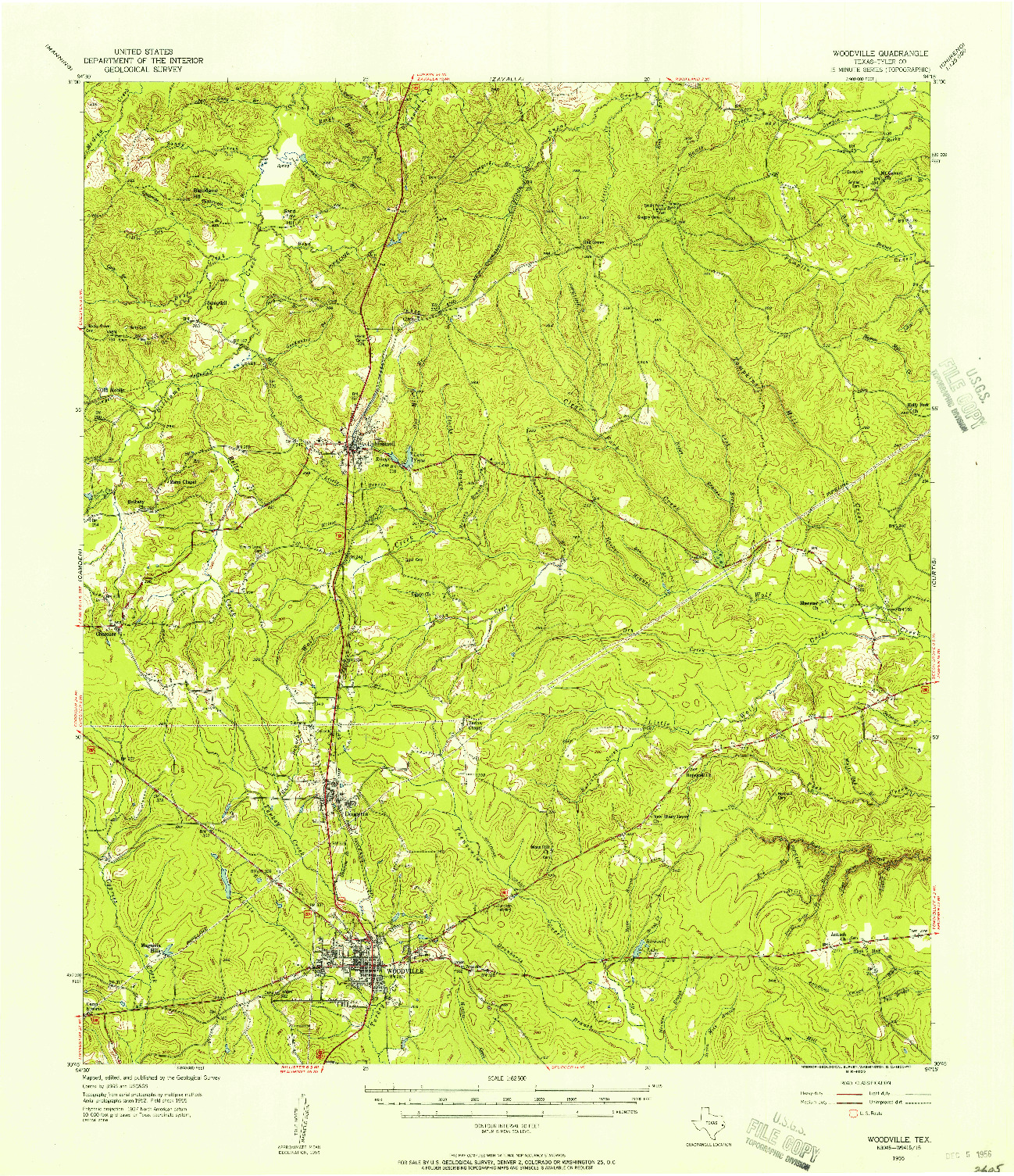 USGS 1:62500-SCALE QUADRANGLE FOR WOODVILLE, TX 1955