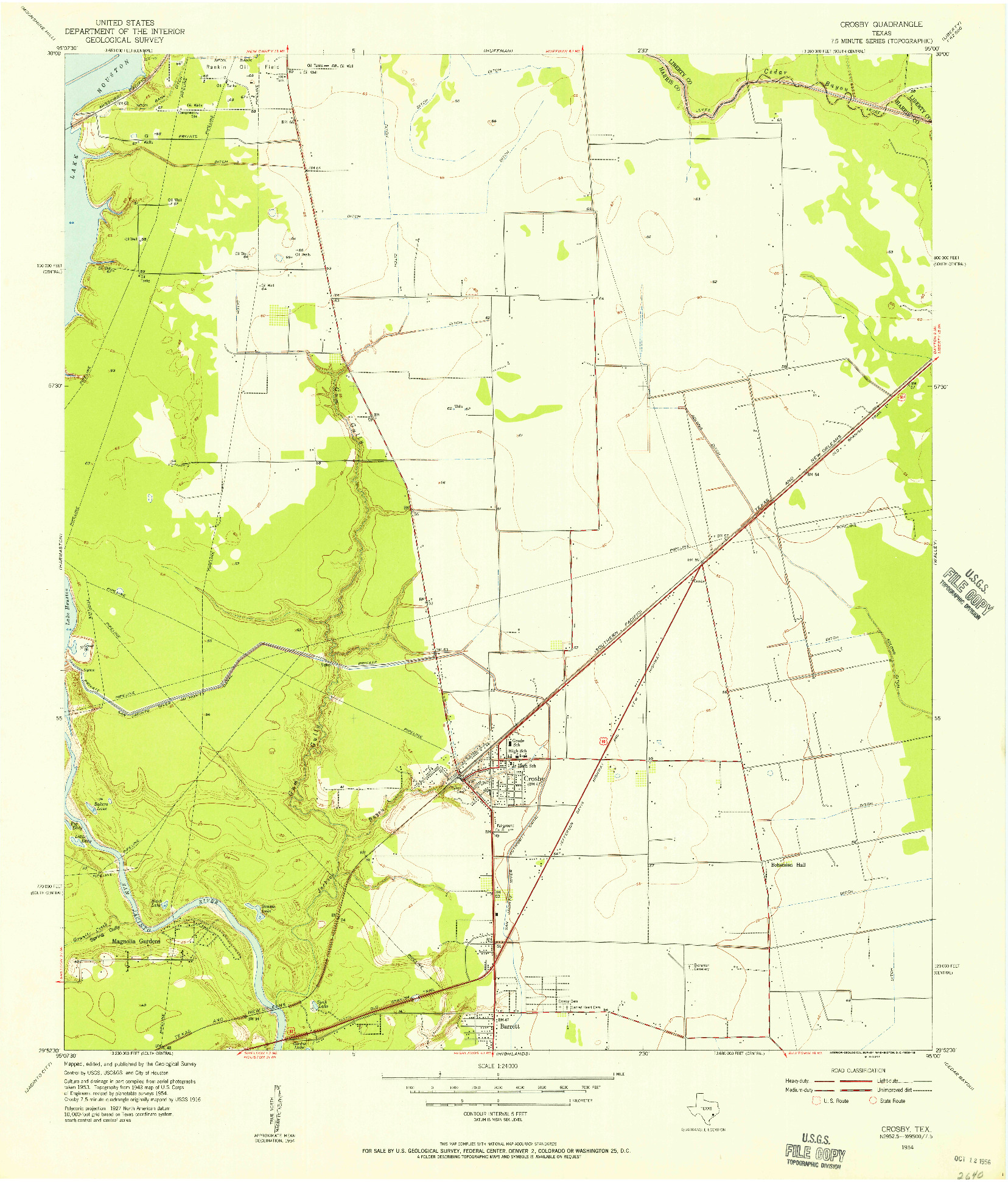 USGS 1:24000-SCALE QUADRANGLE FOR CROSBY, TX 1954