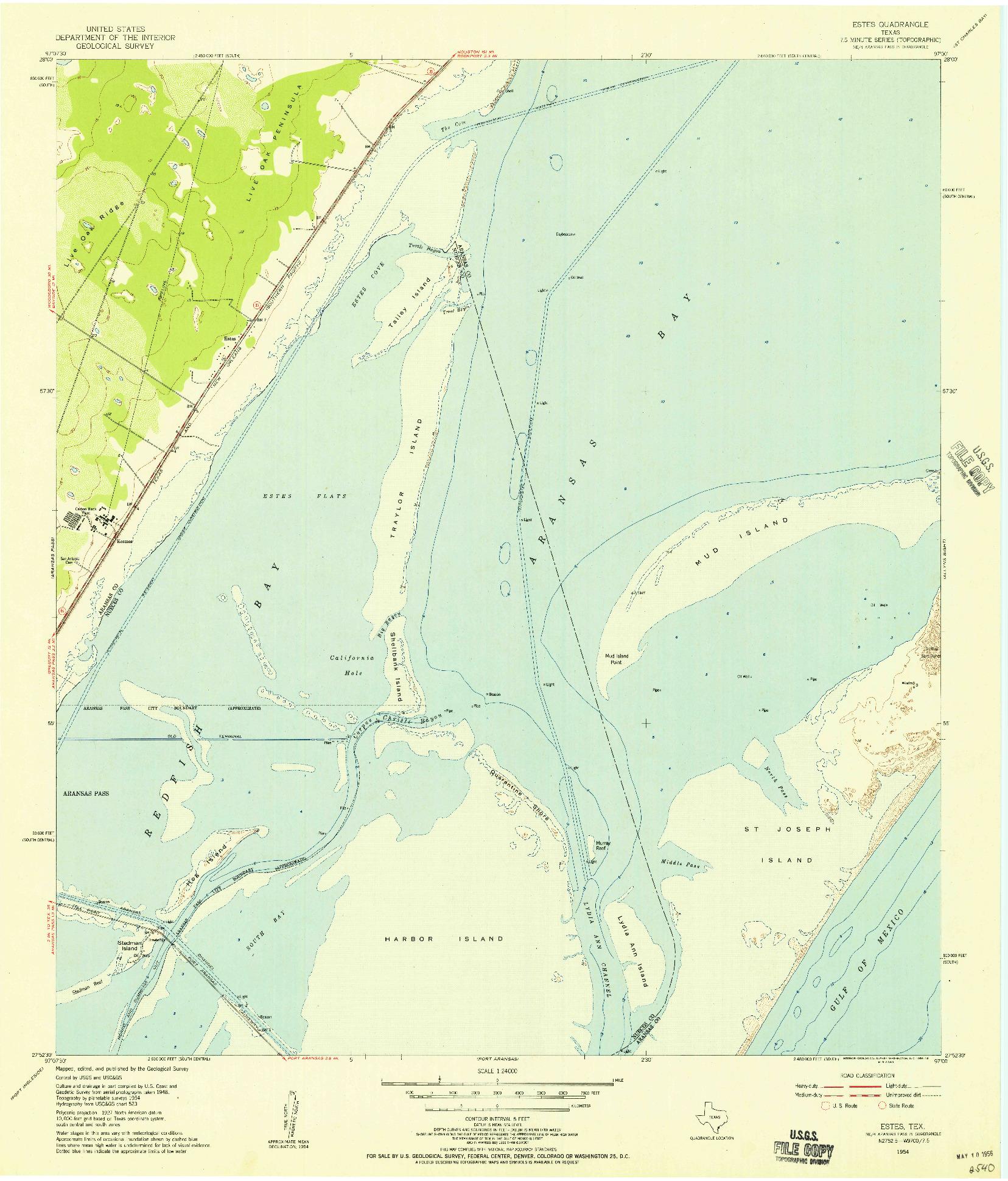USGS 1:24000-SCALE QUADRANGLE FOR ESTES, TX 1954