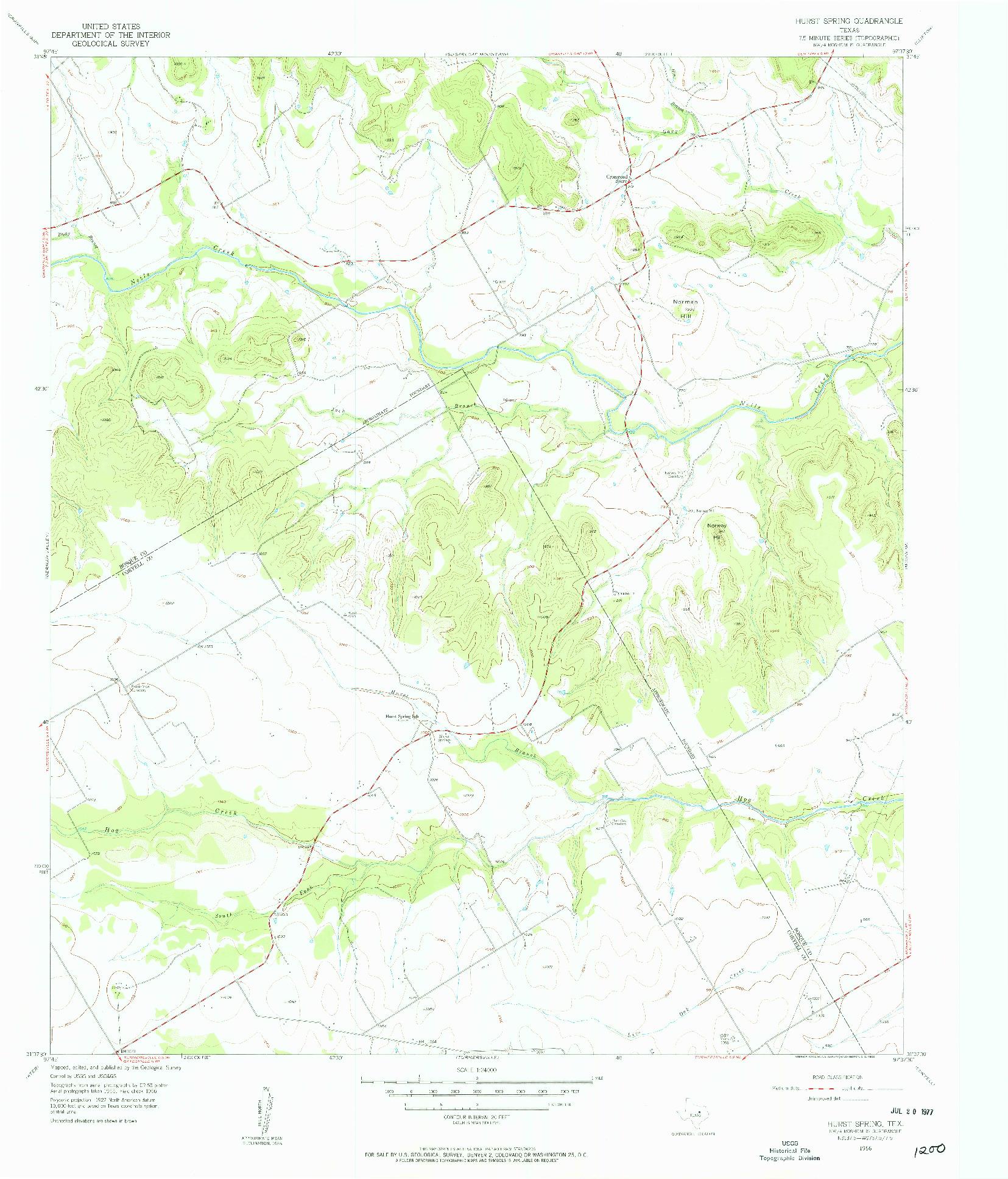 USGS 1:24000-SCALE QUADRANGLE FOR HURST SPRING, TX 1956