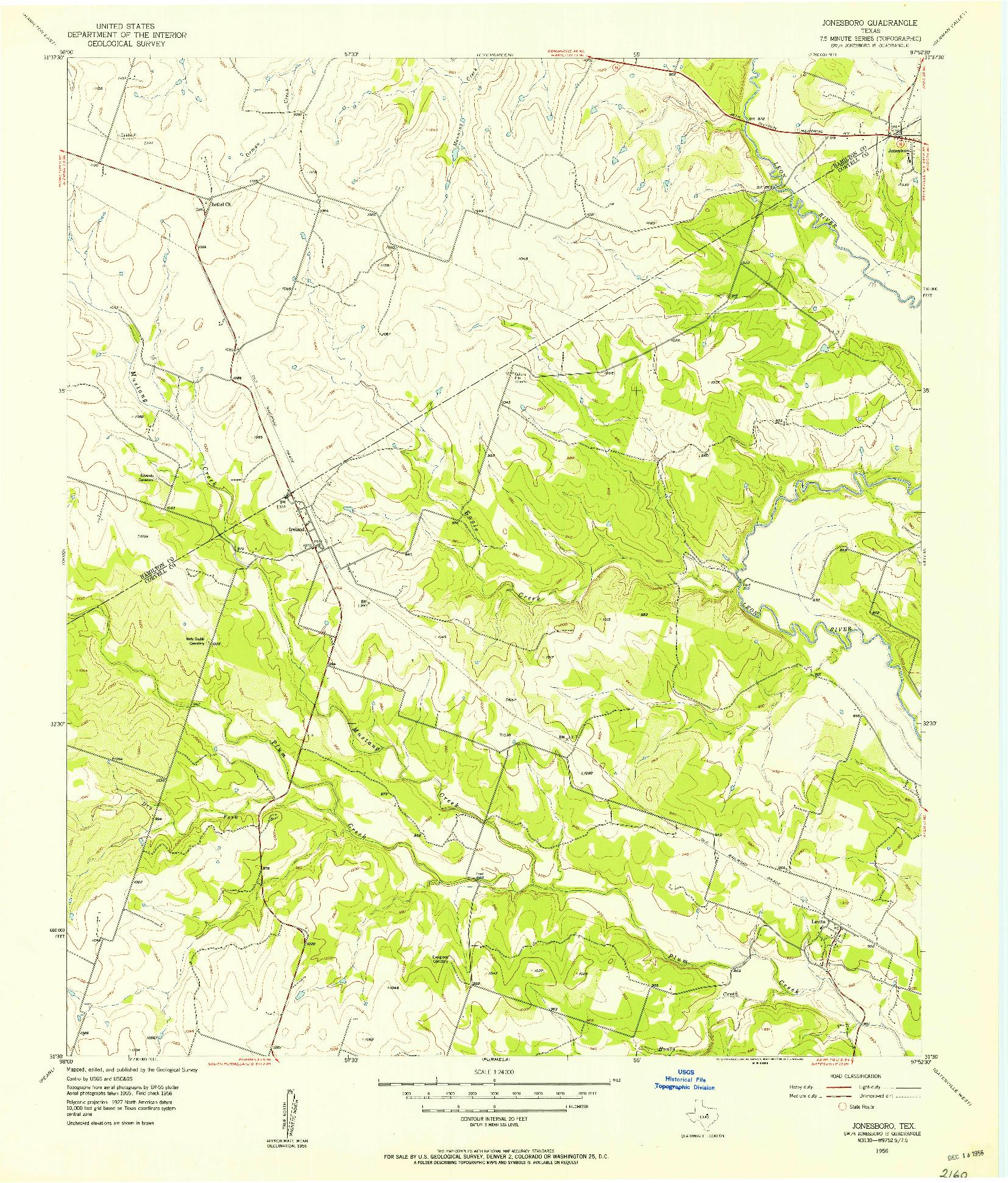 USGS 1:24000-SCALE QUADRANGLE FOR JONESBORO, TX 1956