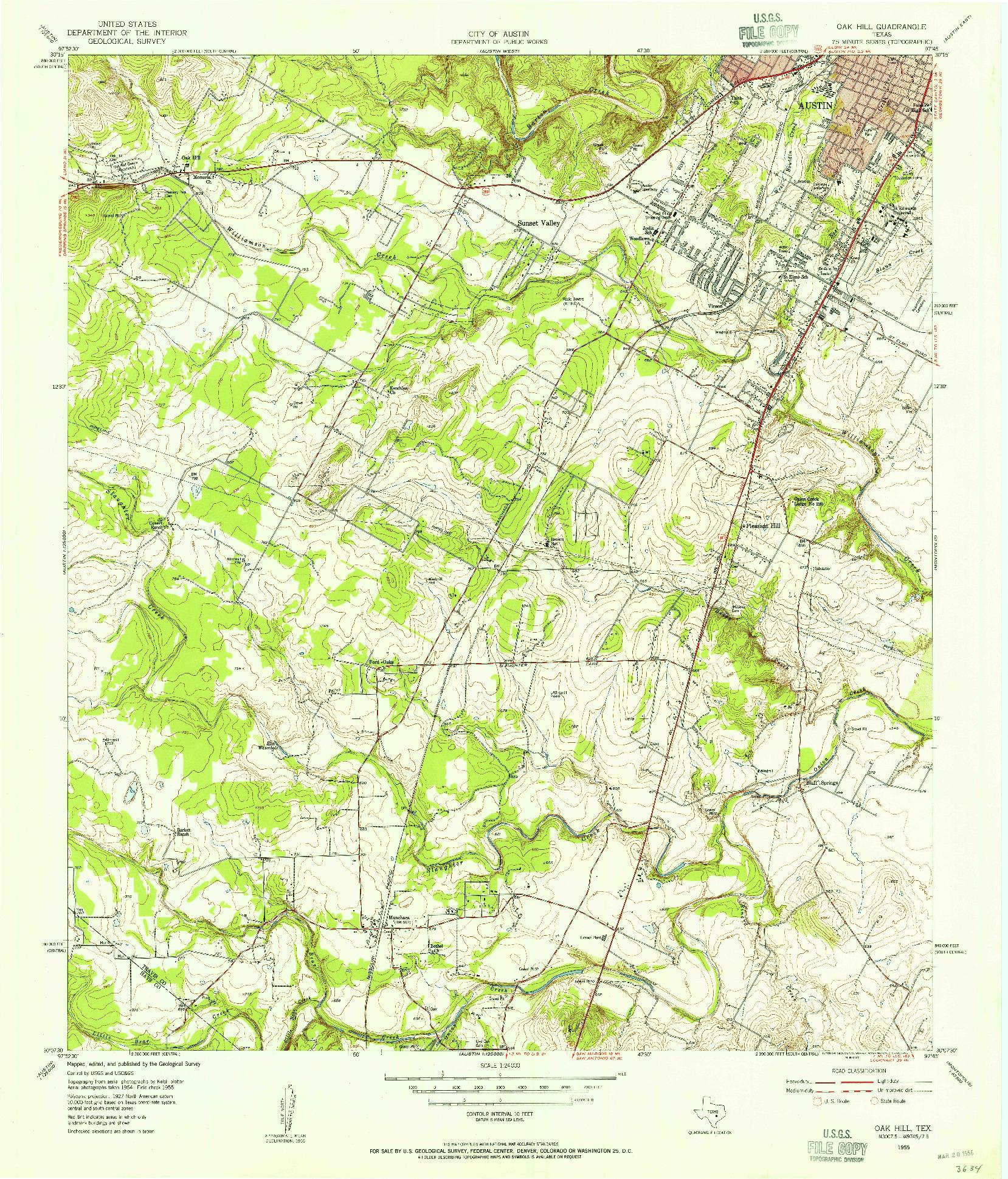USGS 1:24000-SCALE QUADRANGLE FOR OAK HILL, TX 1955