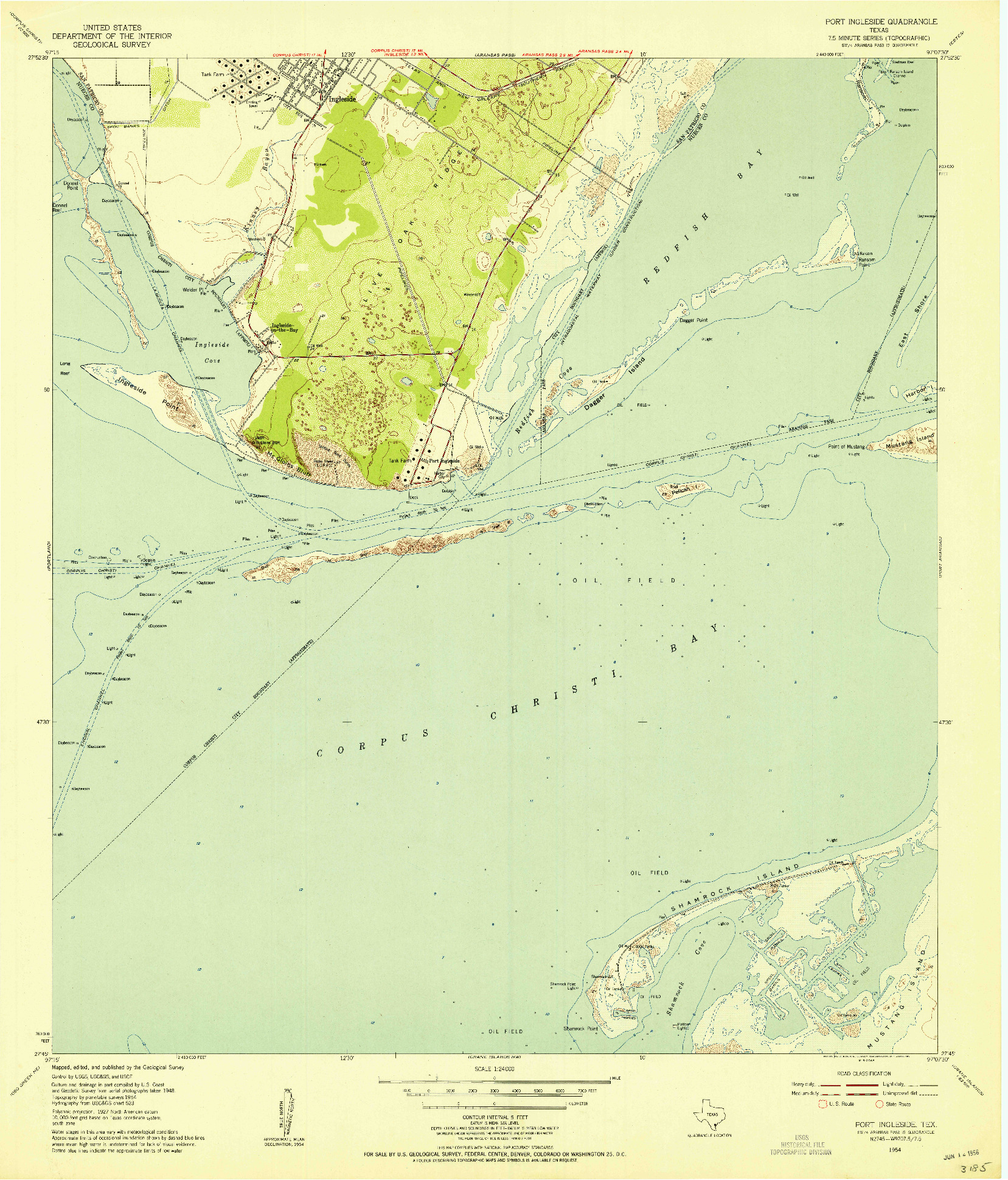 USGS 1:24000-SCALE QUADRANGLE FOR PORT INGLESIDE, TX 1954