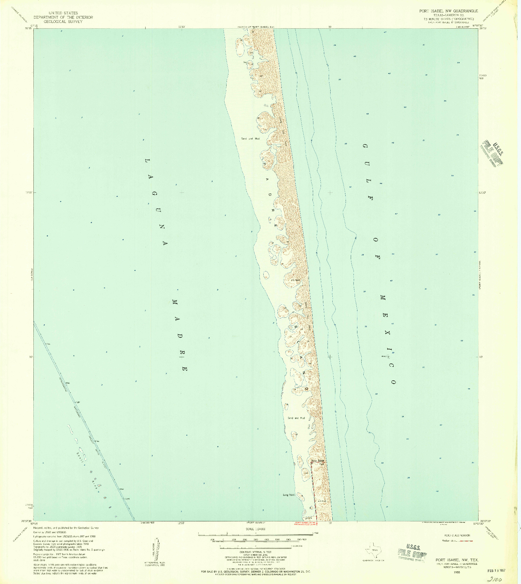 USGS 1:24000-SCALE QUADRANGLE FOR PORT ISABEL NW, TX 1955