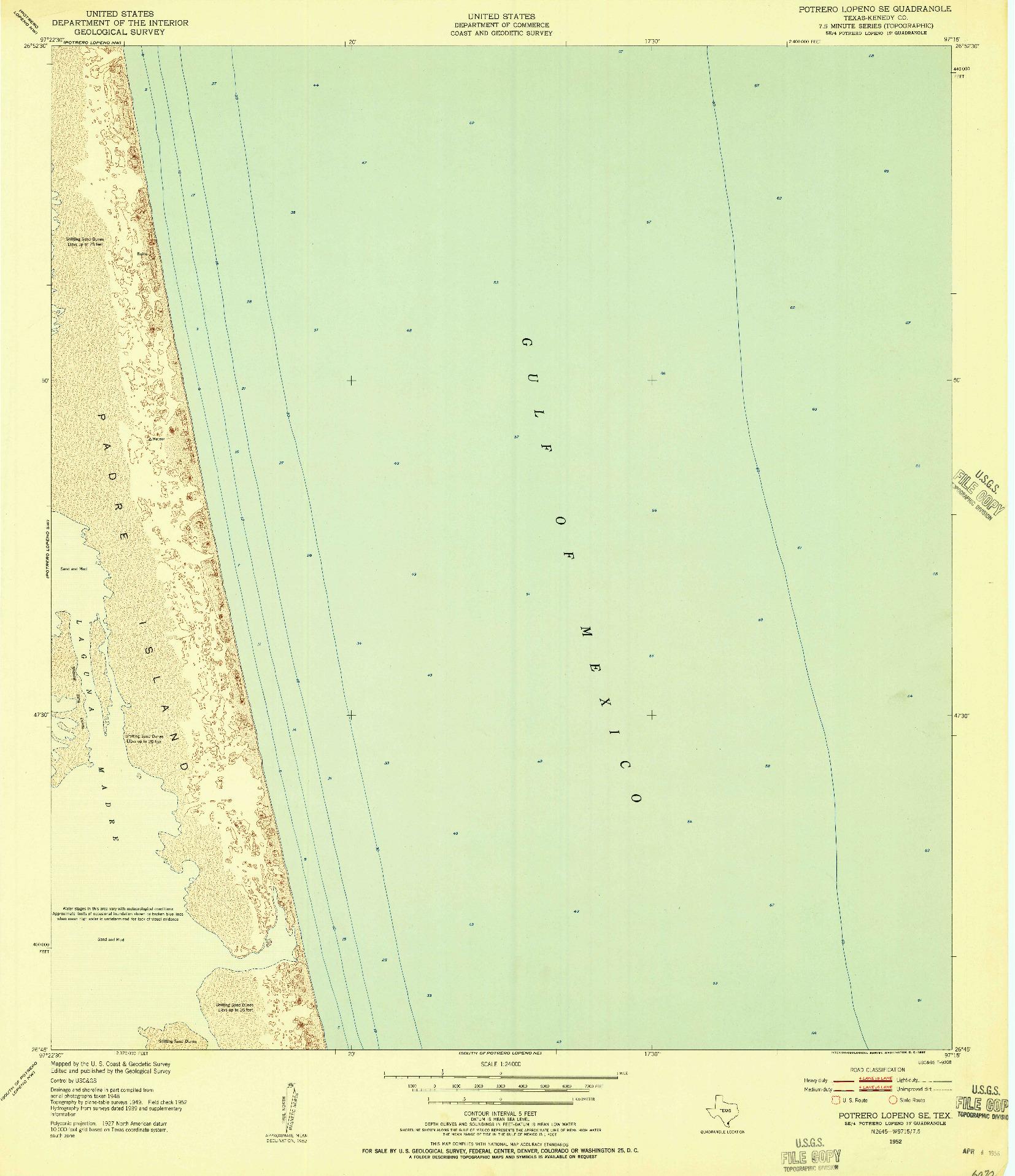 USGS 1:24000-SCALE QUADRANGLE FOR POTRERO LOPENO SE, TX 1952