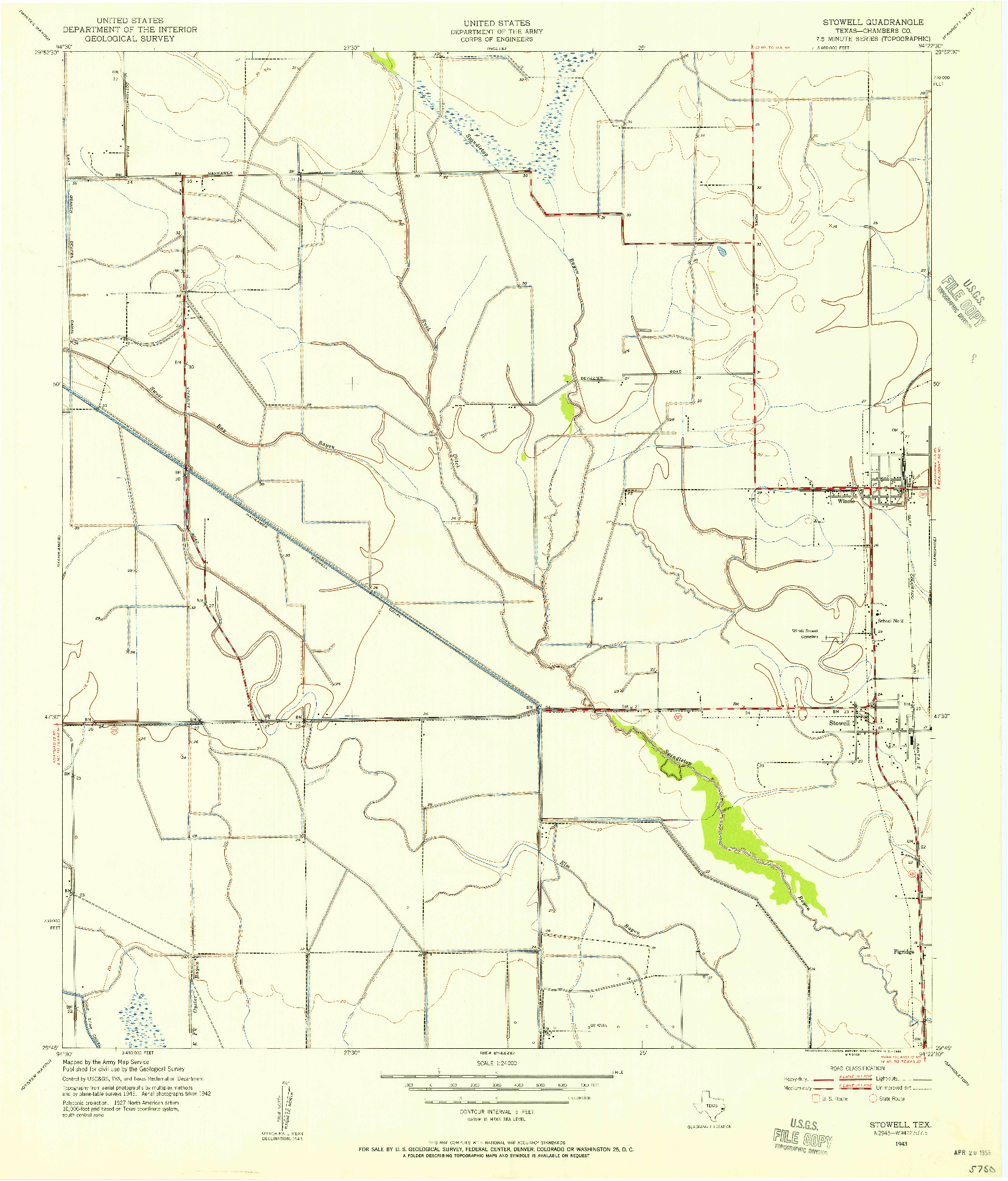 USGS 1:24000-SCALE QUADRANGLE FOR STOWELL, TX 1943
