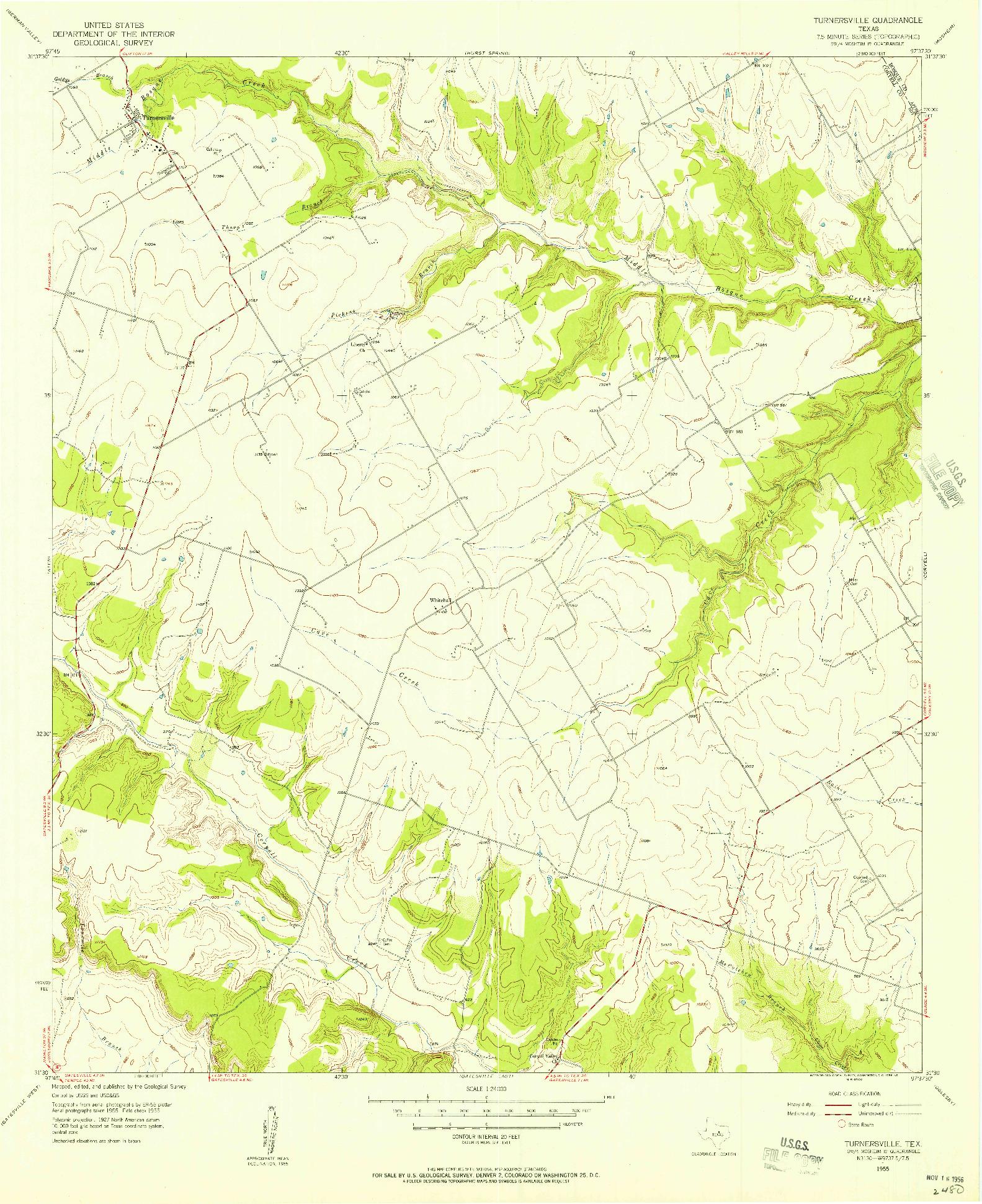 USGS 1:24000-SCALE QUADRANGLE FOR TURNERSVILLE, TX 1955
