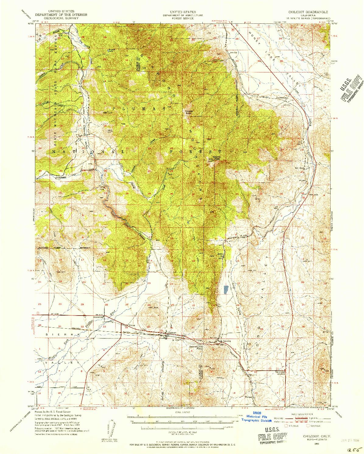 USGS 1:62500-SCALE QUADRANGLE FOR CHILCOOT, CA 1950