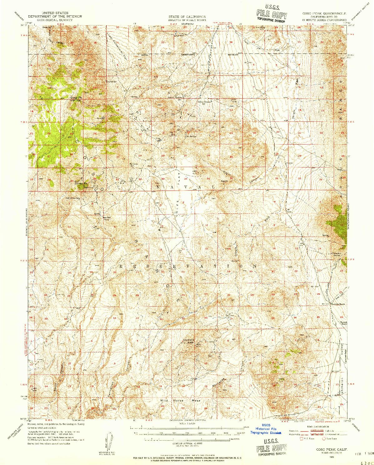 USGS 1:62500-SCALE QUADRANGLE FOR COSO PEAK, CA 1951