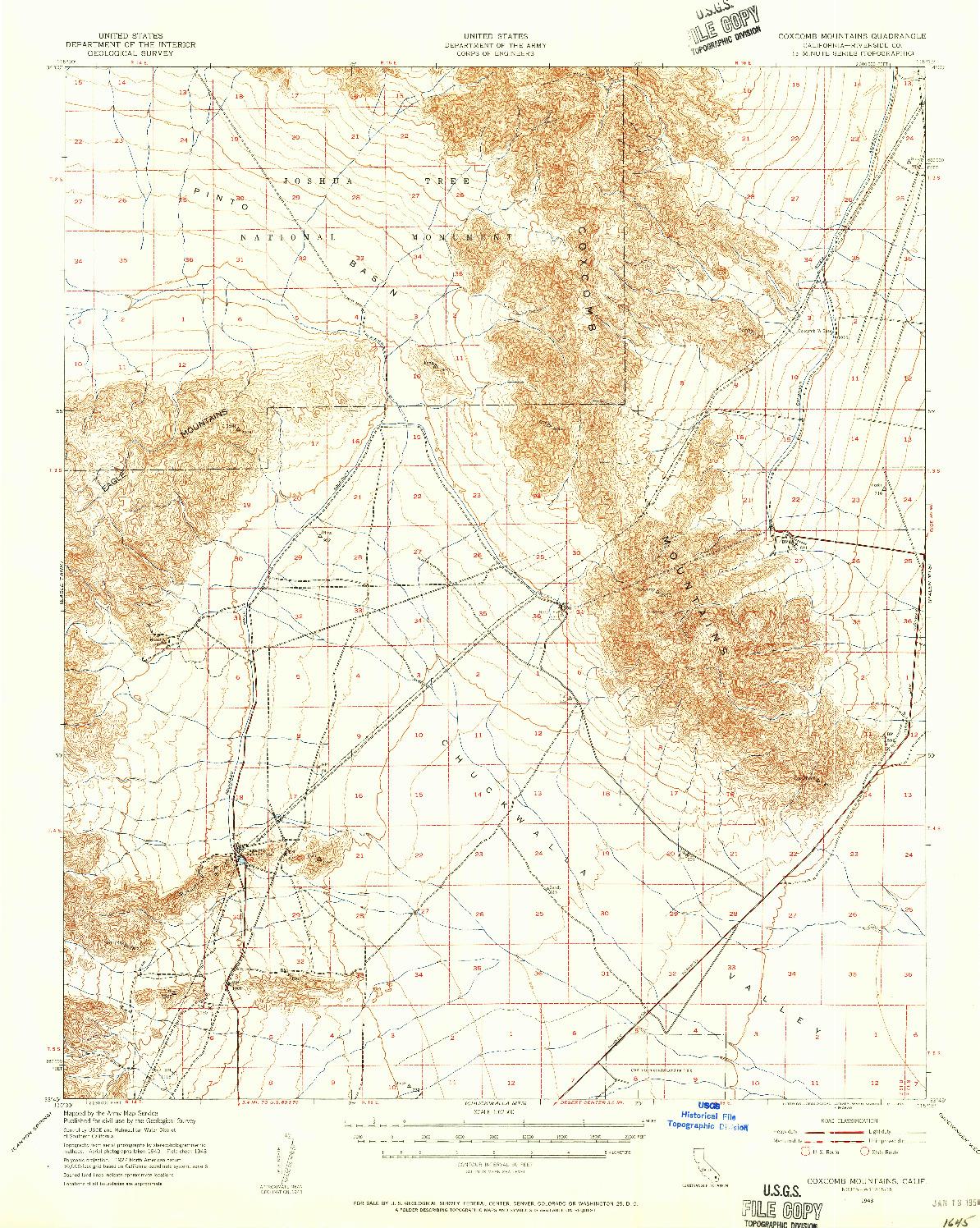 USGS 1:62500-SCALE QUADRANGLE FOR COXCOMB MOUNTAINS, CA 1943