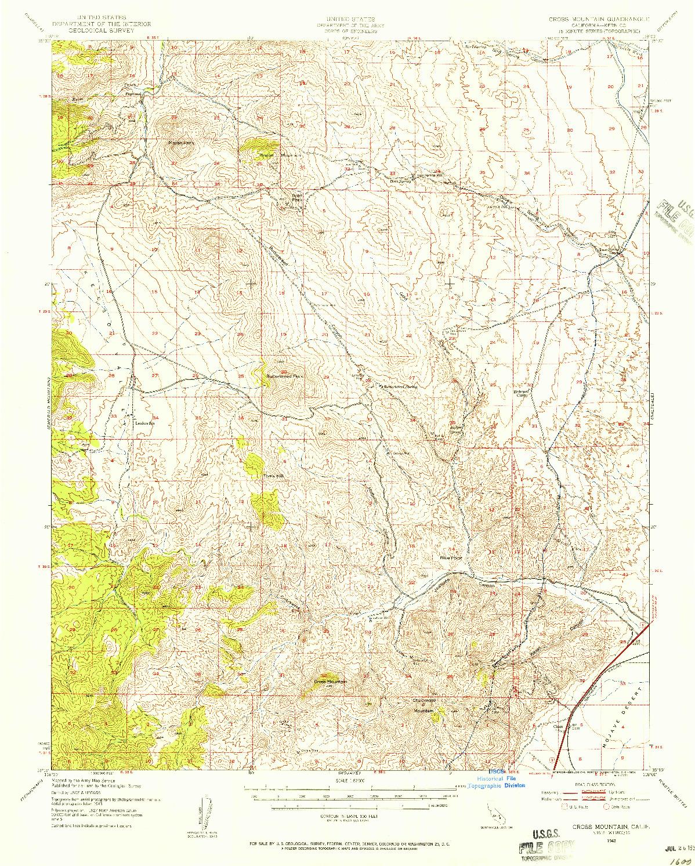 USGS 1:62500-SCALE QUADRANGLE FOR CROSS MOUNTAIN, CA 1943