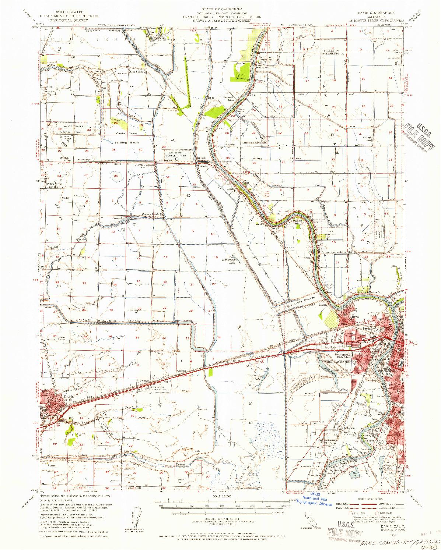 USGS 1:62500-SCALE QUADRANGLE FOR DAVIS, CA 1954