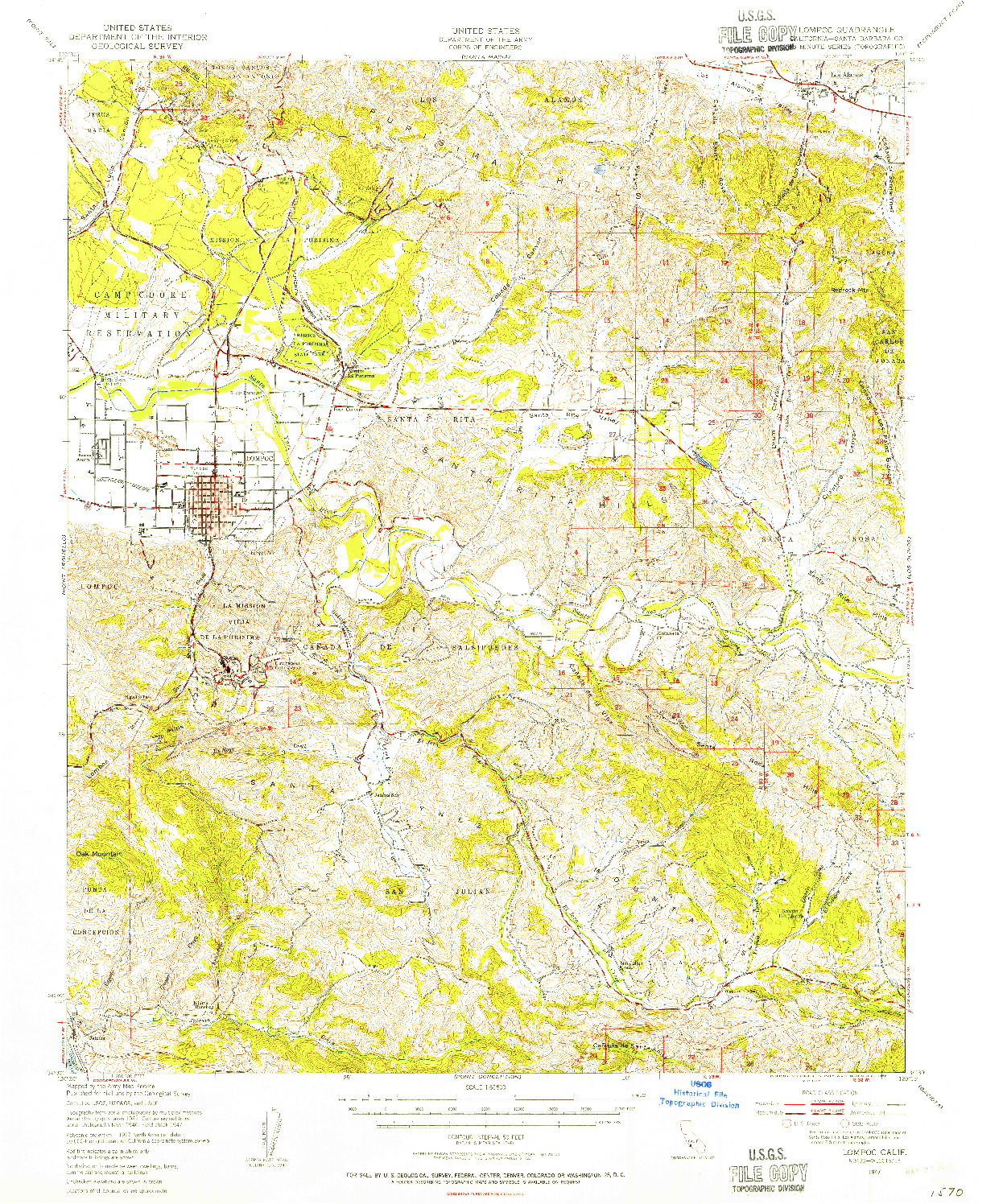 USGS 1:62500-SCALE QUADRANGLE FOR LOMPOC, CA 1947