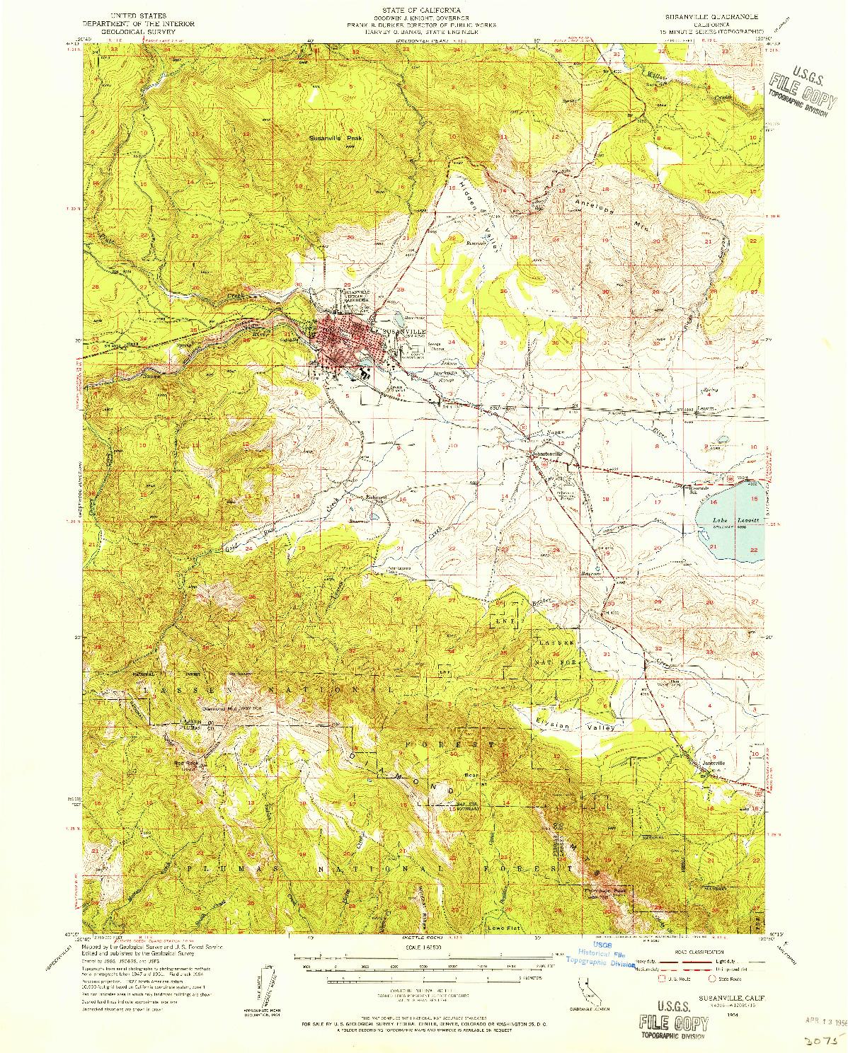 USGS 1:62500-SCALE QUADRANGLE FOR SUSANVILLE, CA 1954