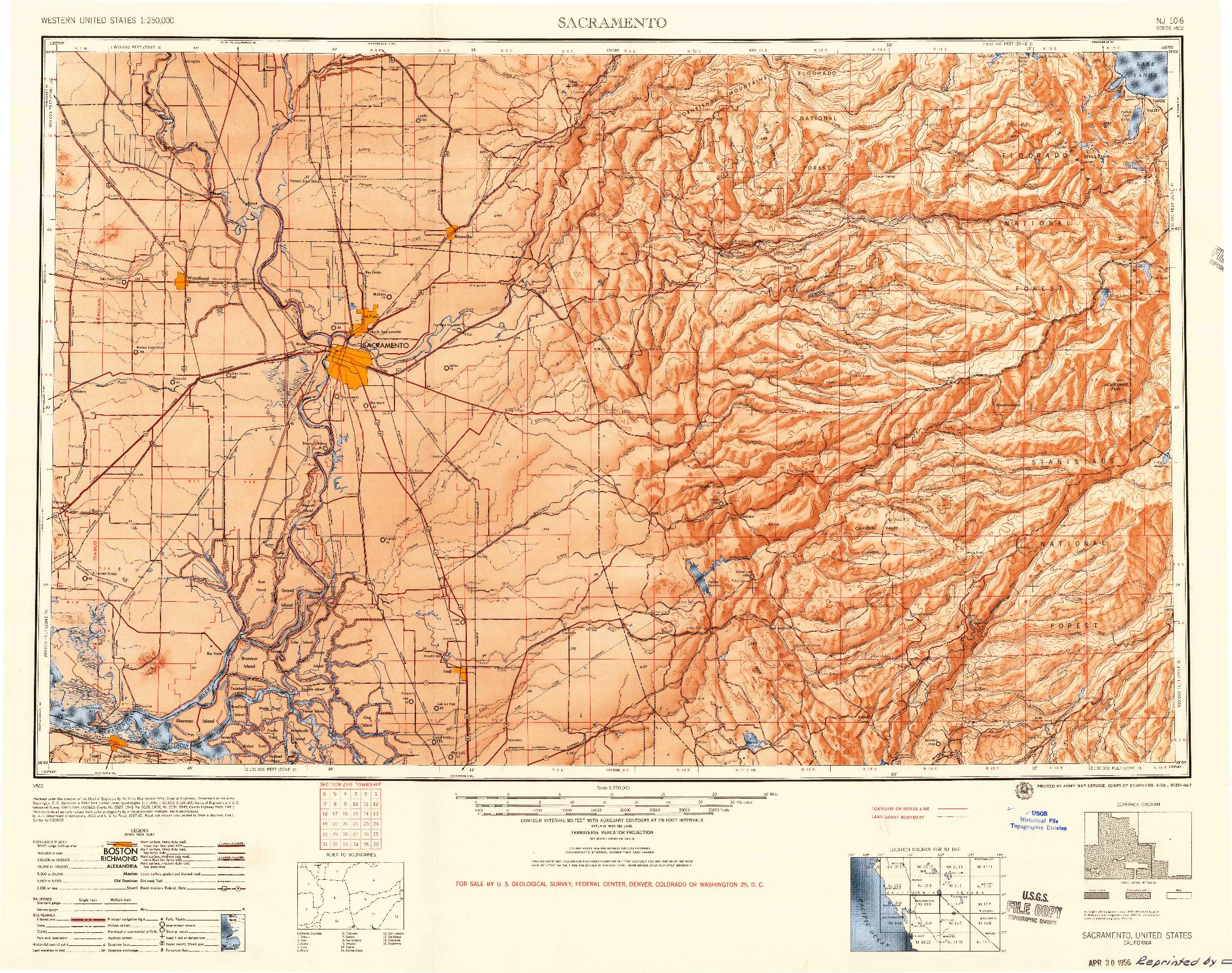 USGS 1:250000-SCALE QUADRANGLE FOR SACRAMENTO, CA 1956