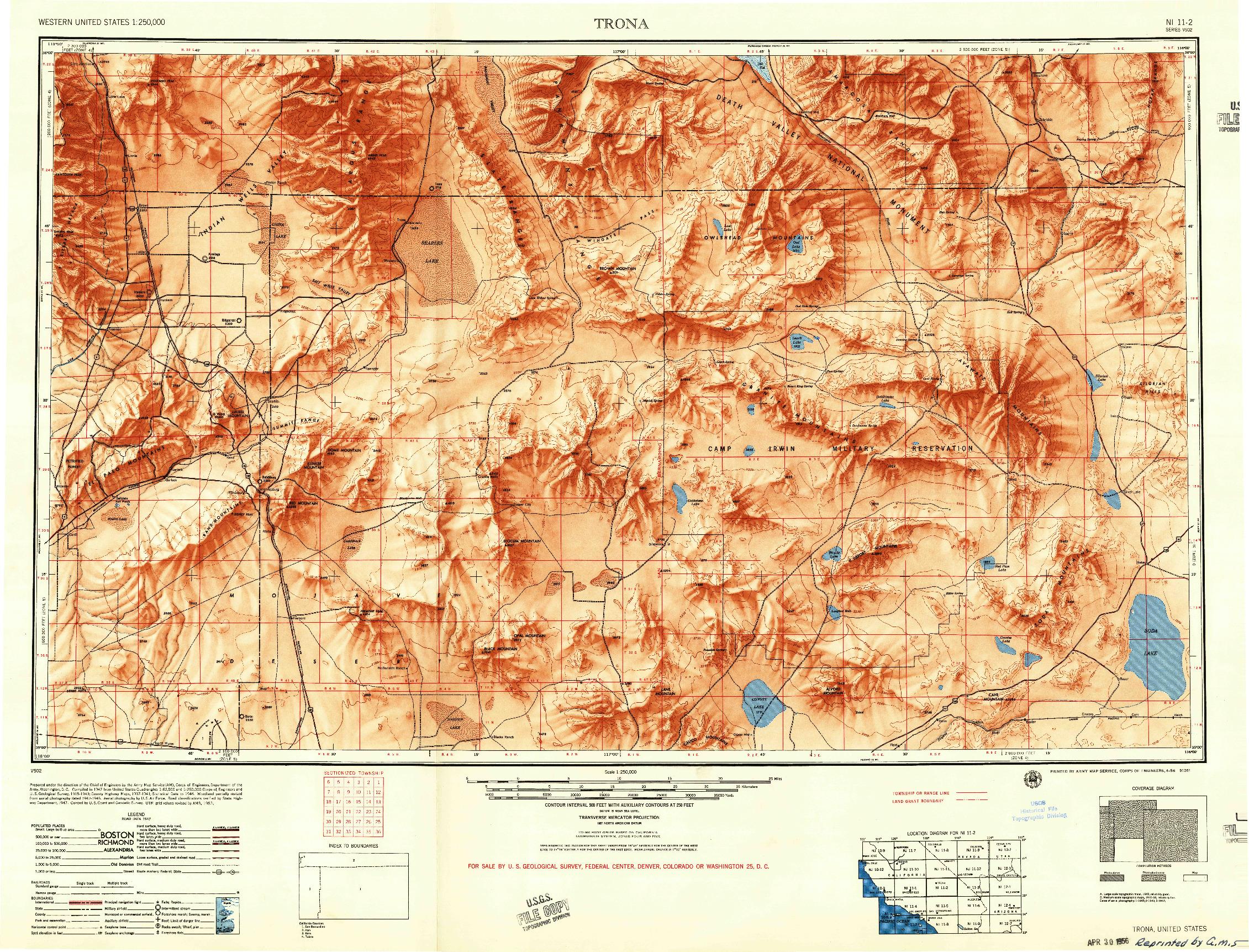 USGS 1:250000-SCALE QUADRANGLE FOR TRONA, CA 1953