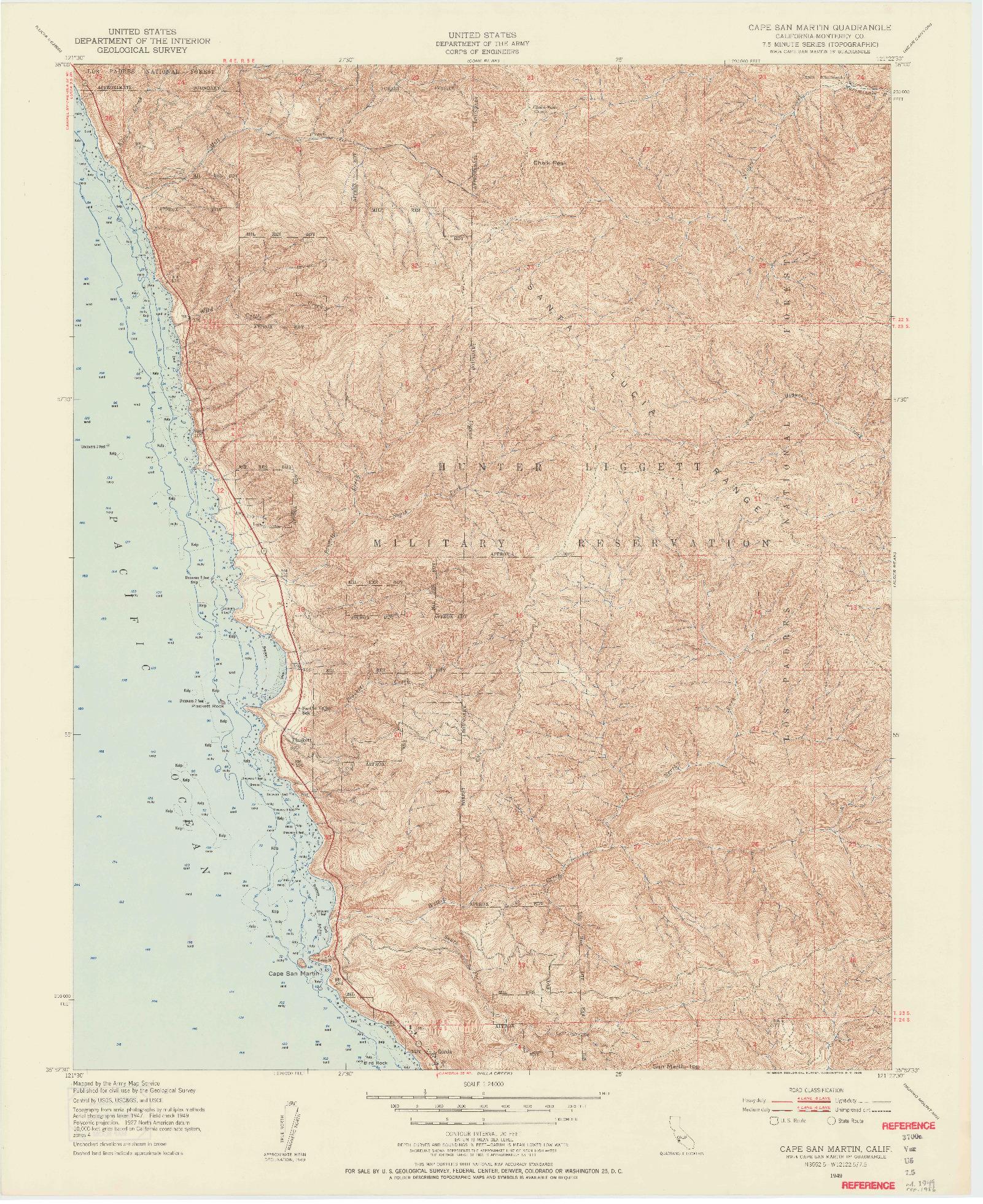 USGS 1:24000-SCALE QUADRANGLE FOR CAPE SAN MARTIN, CA 1949