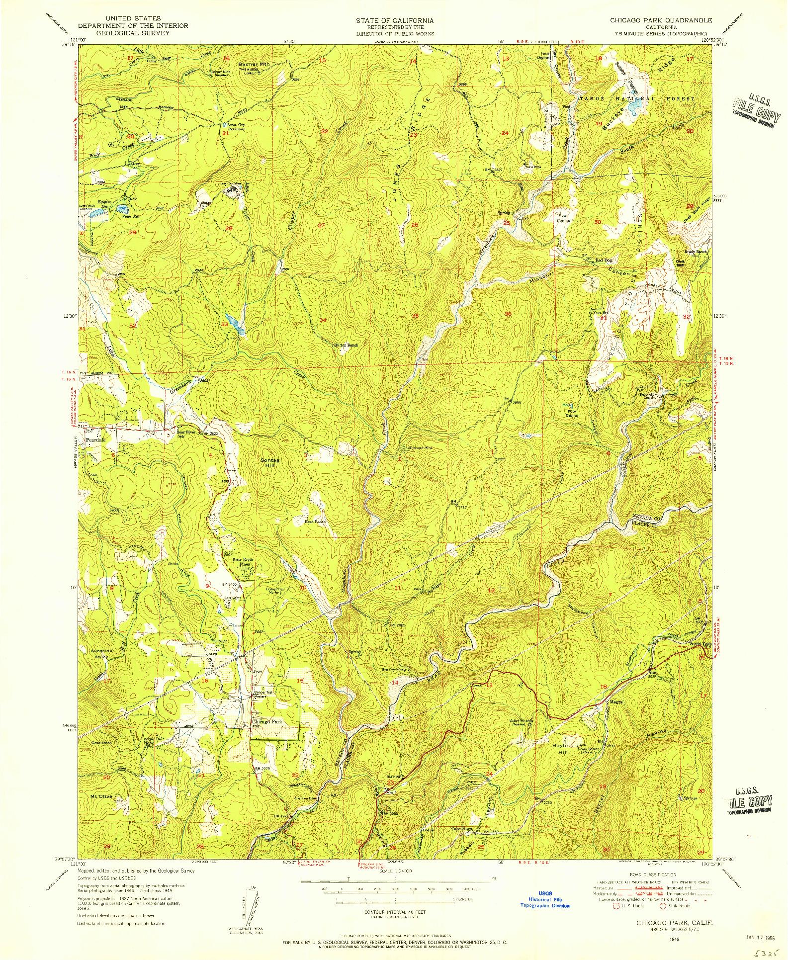 USGS 1:24000-SCALE QUADRANGLE FOR CHICAGO PARK, CA 1949