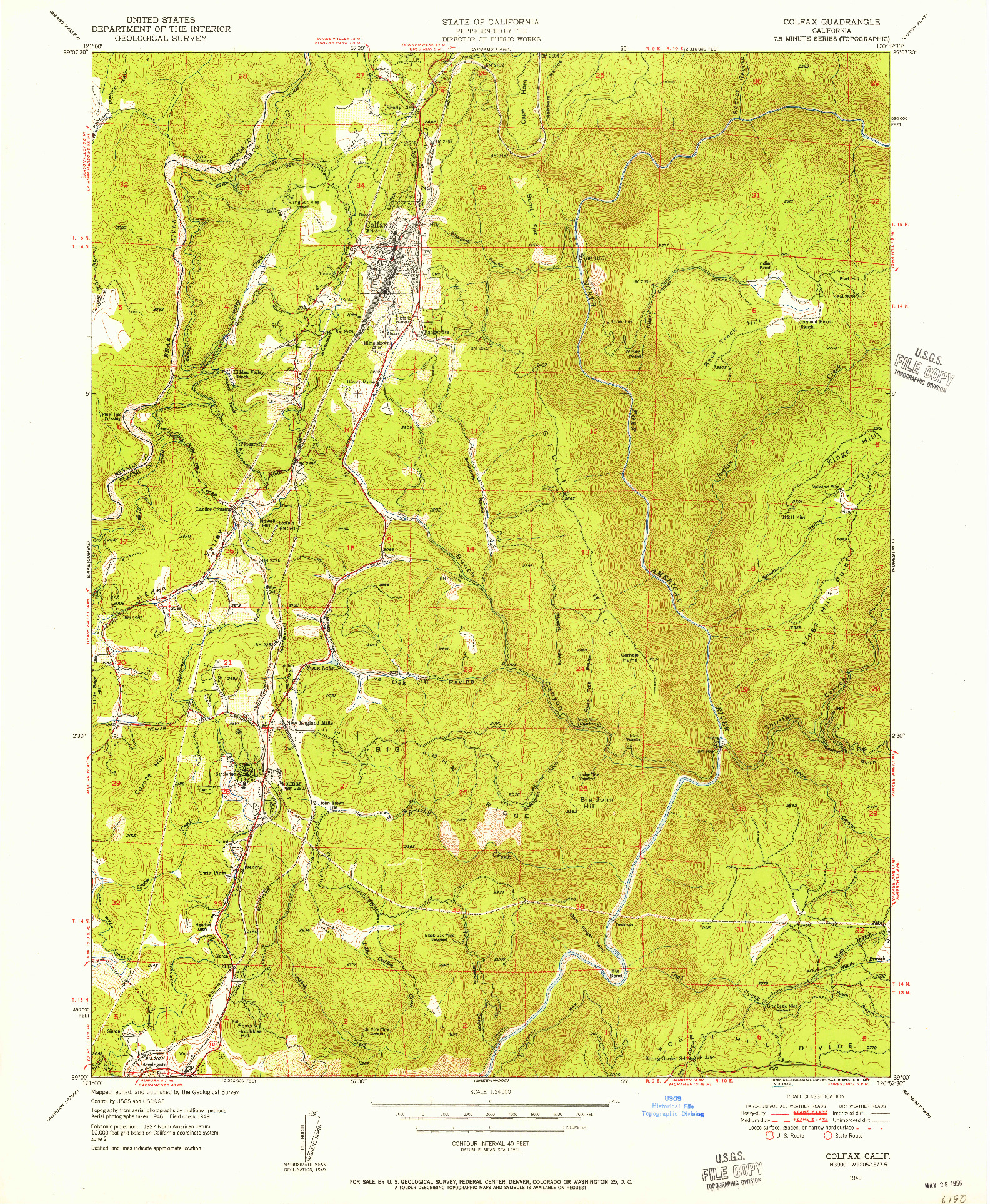 USGS 1:24000-SCALE QUADRANGLE FOR COLFAX, CA 1949