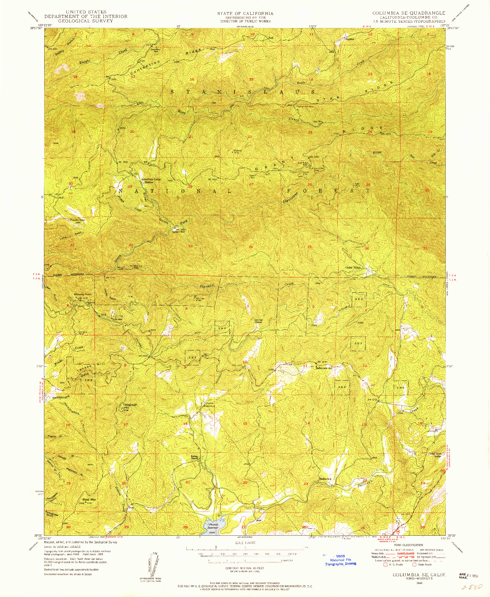 USGS 1:24000-SCALE QUADRANGLE FOR COLUMBIA SE, CA 1948