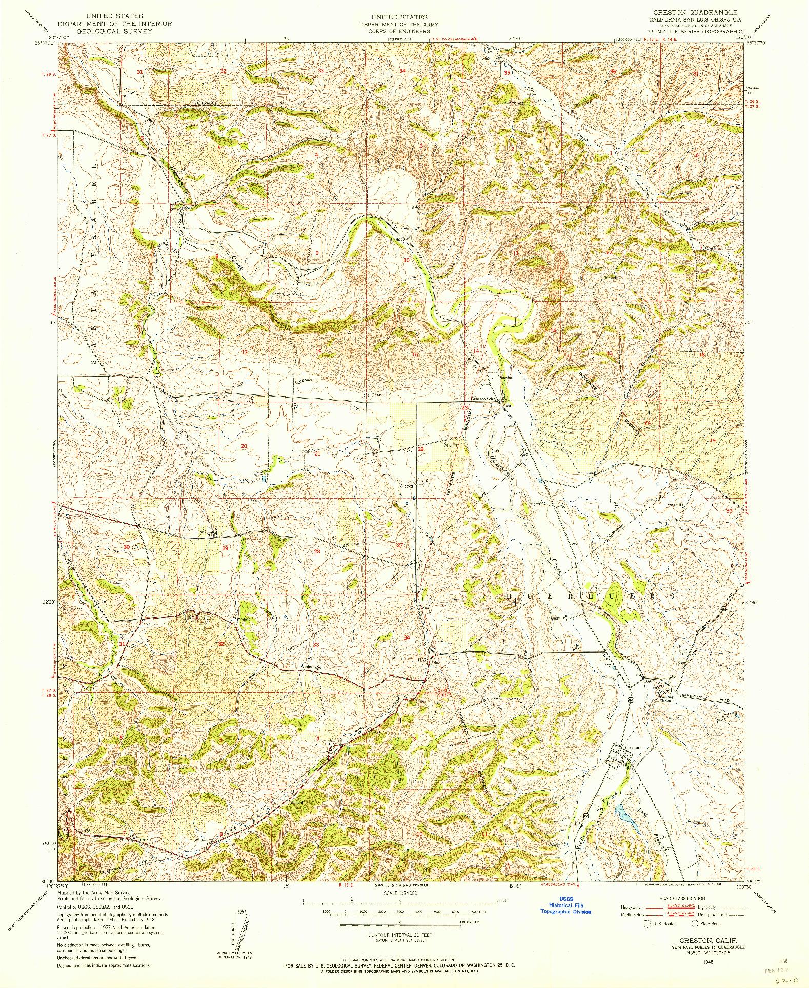 USGS 1:24000-SCALE QUADRANGLE FOR CRESTON, CA 1948