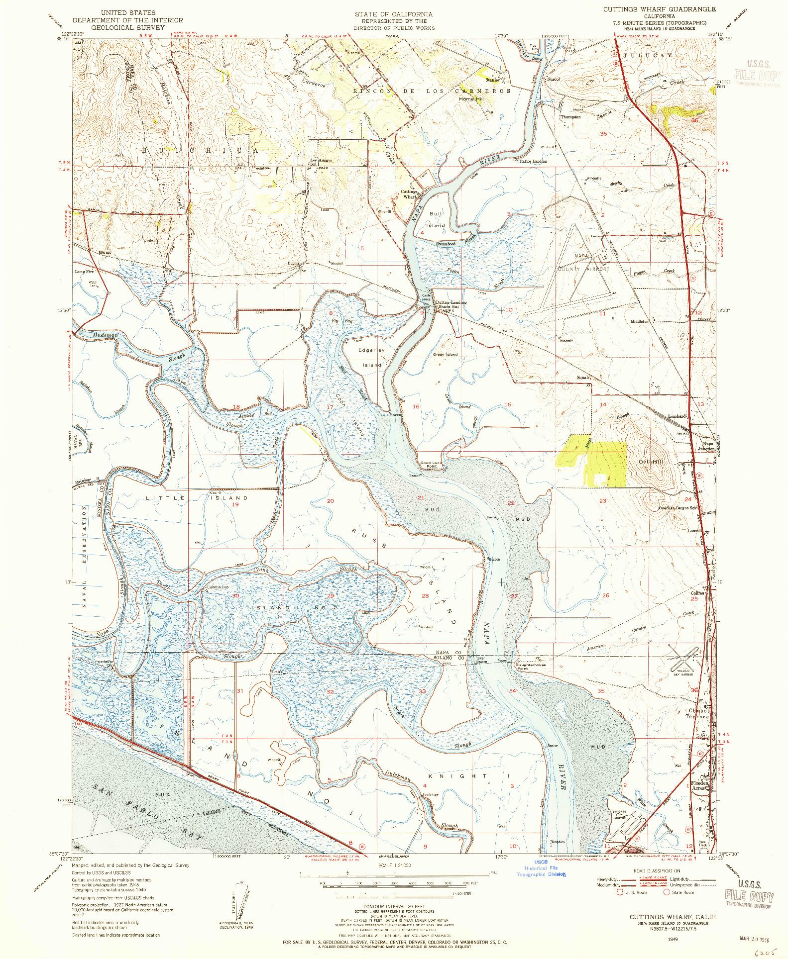 USGS 1:24000-SCALE QUADRANGLE FOR CUTTINGS WHARF, CA 1949