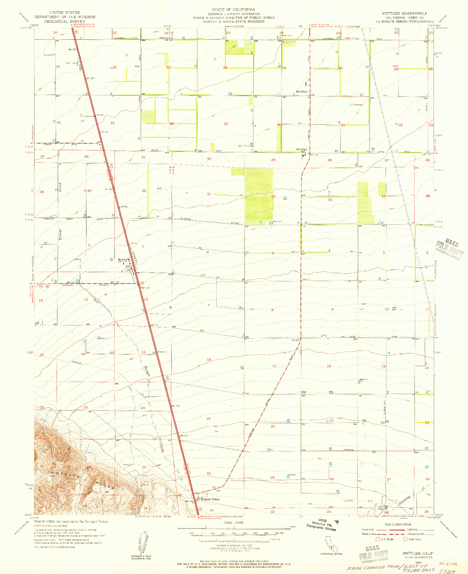 USGS 1:24000-SCALE QUADRANGLE FOR METTLER, CA 1955