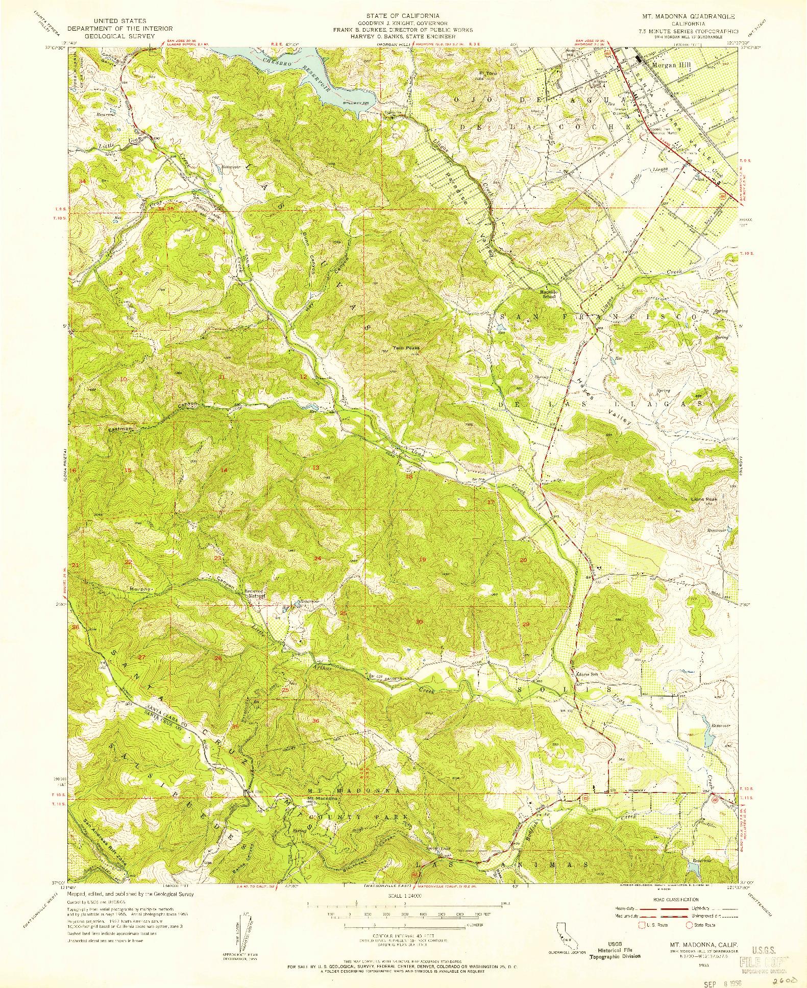USGS 1:24000-SCALE QUADRANGLE FOR MT. MADONNA, CA 1955