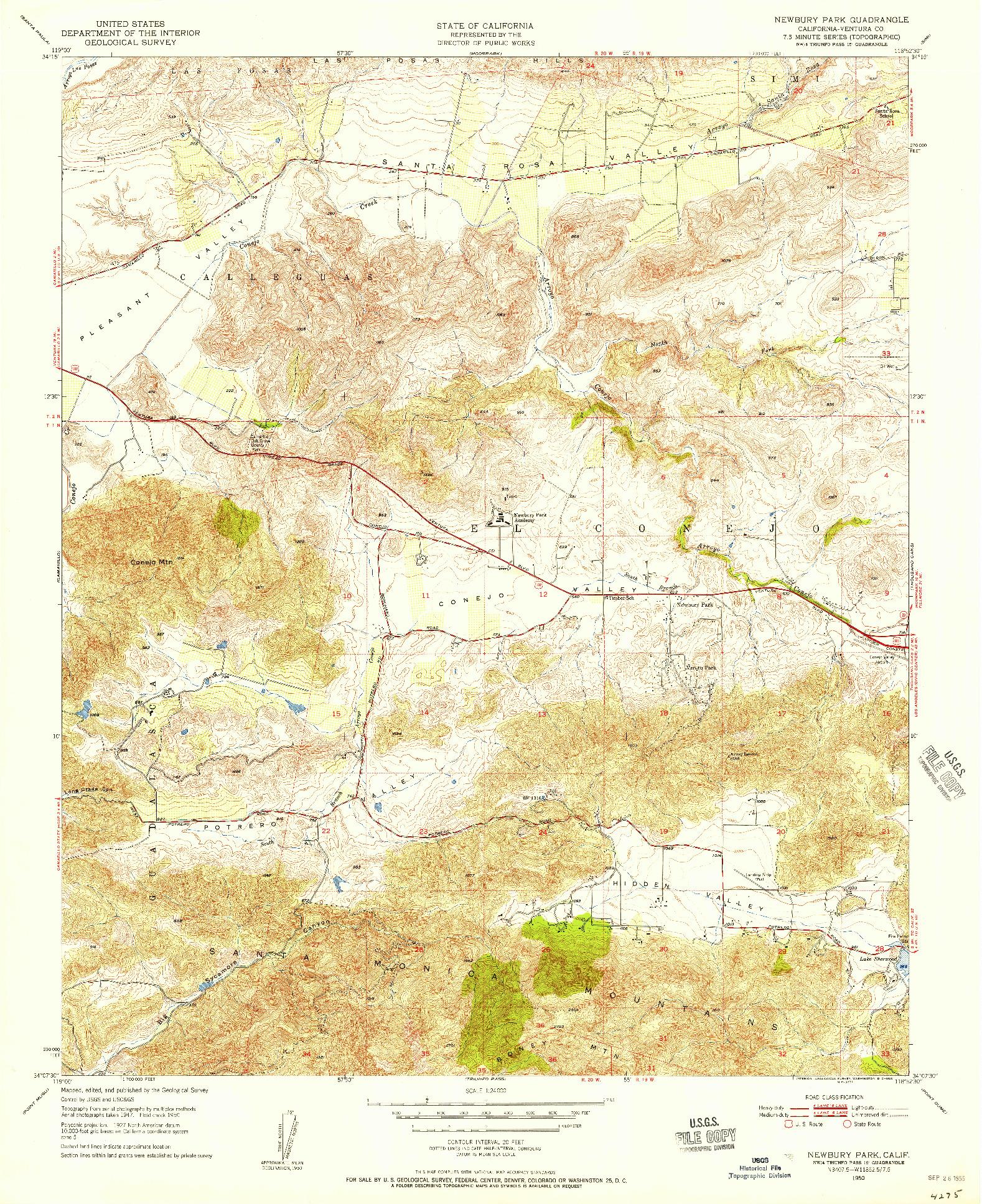USGS 1:24000-SCALE QUADRANGLE FOR NEWBURY PARK, CA 1950