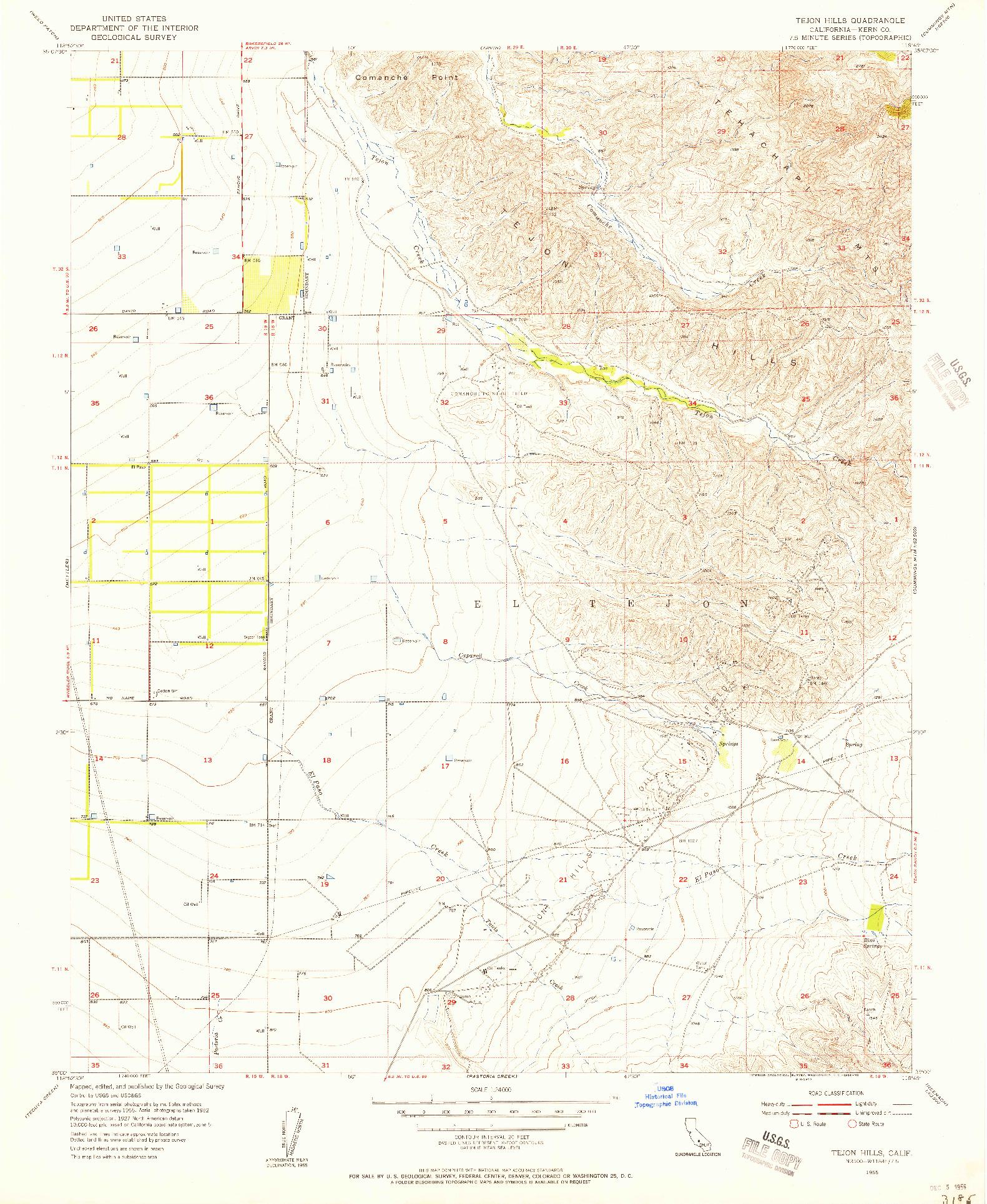 USGS 1:24000-SCALE QUADRANGLE FOR TEJON HILLS, CA 1955
