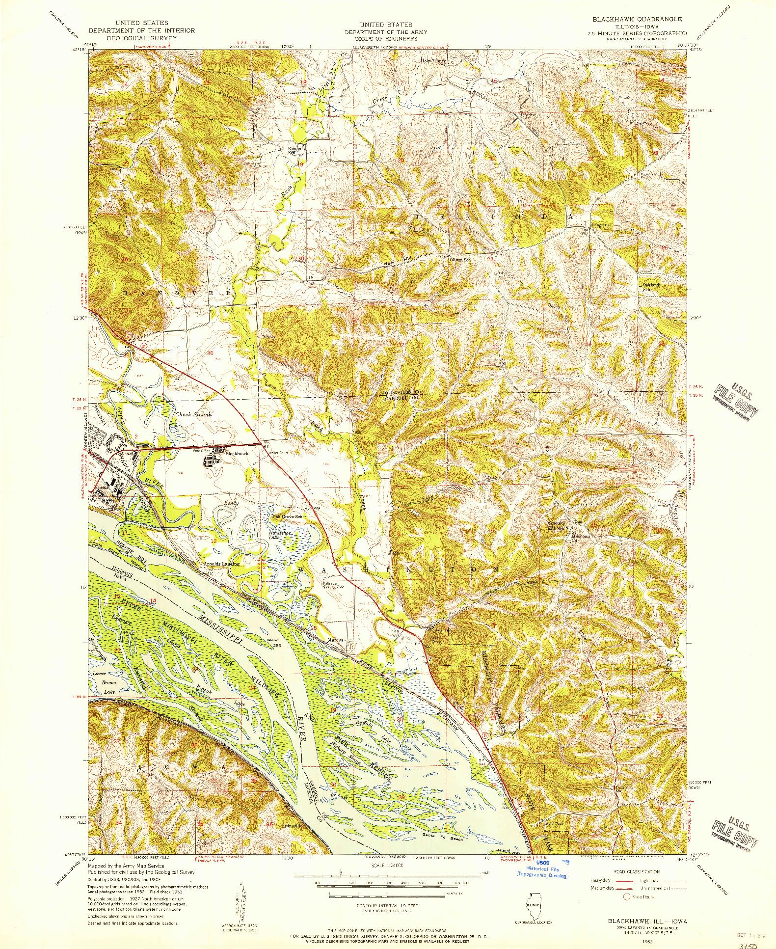 USGS 1:24000-SCALE QUADRANGLE FOR BLACKHAWK, IL 1953