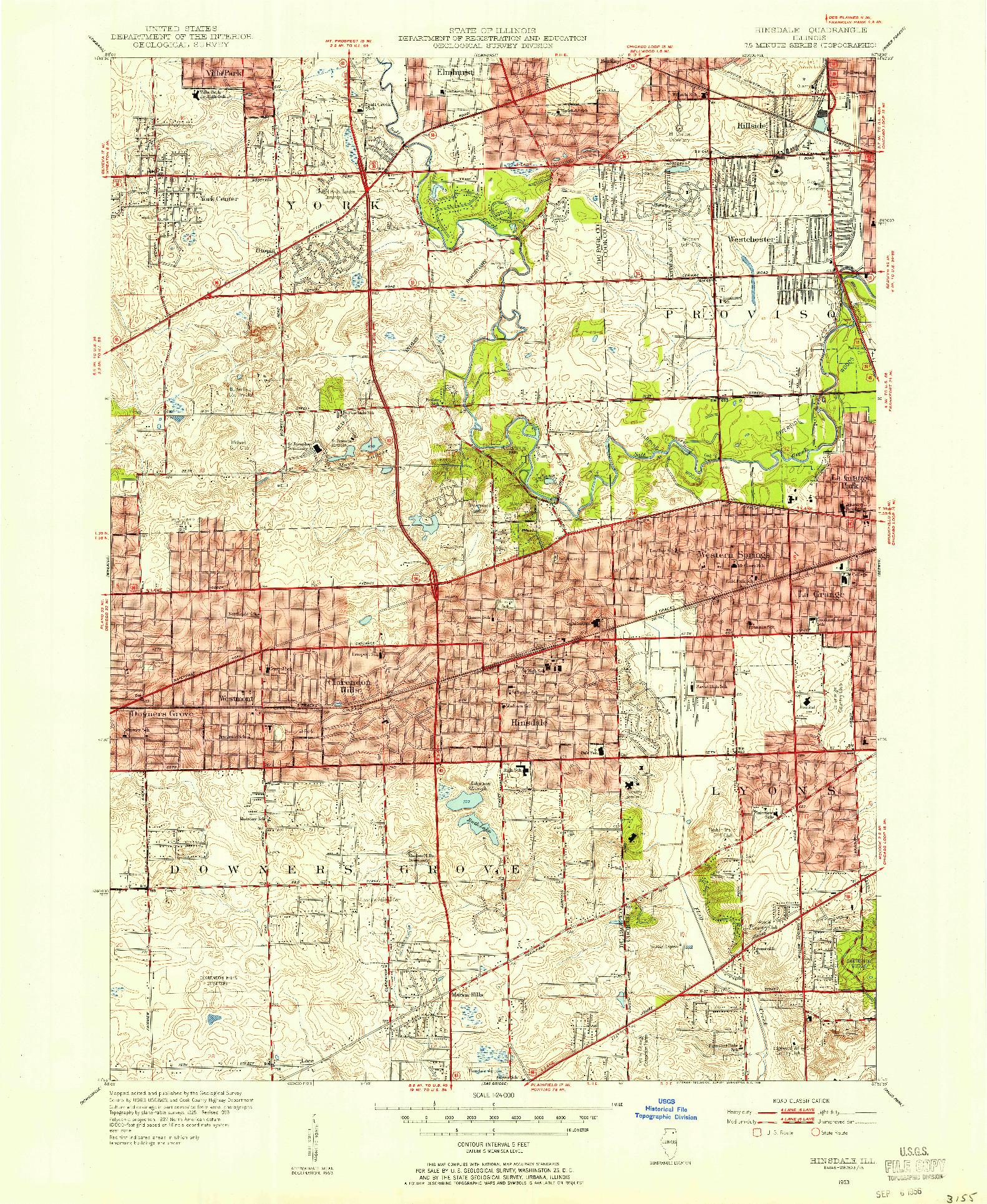 USGS 1:24000-SCALE QUADRANGLE FOR HINSDALE, IL 1953