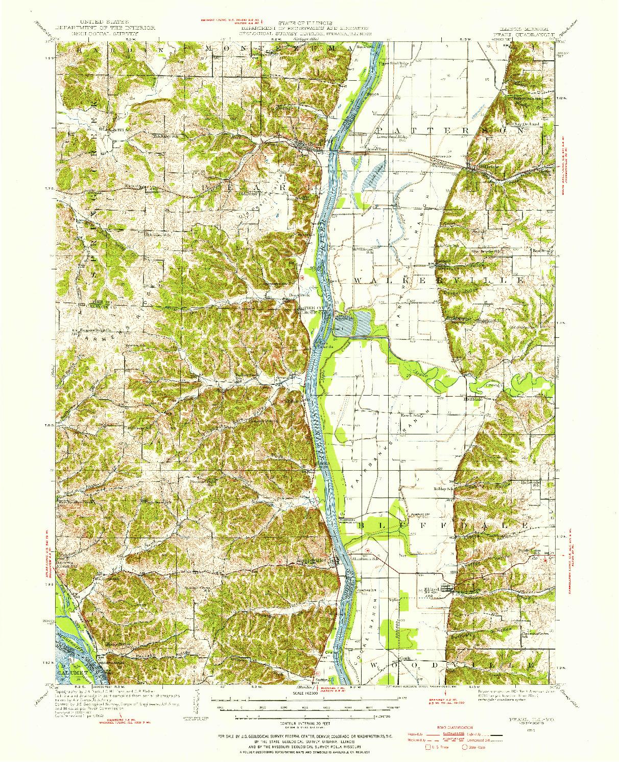 USGS 1:62500-SCALE QUADRANGLE FOR PEARL, IL 1950