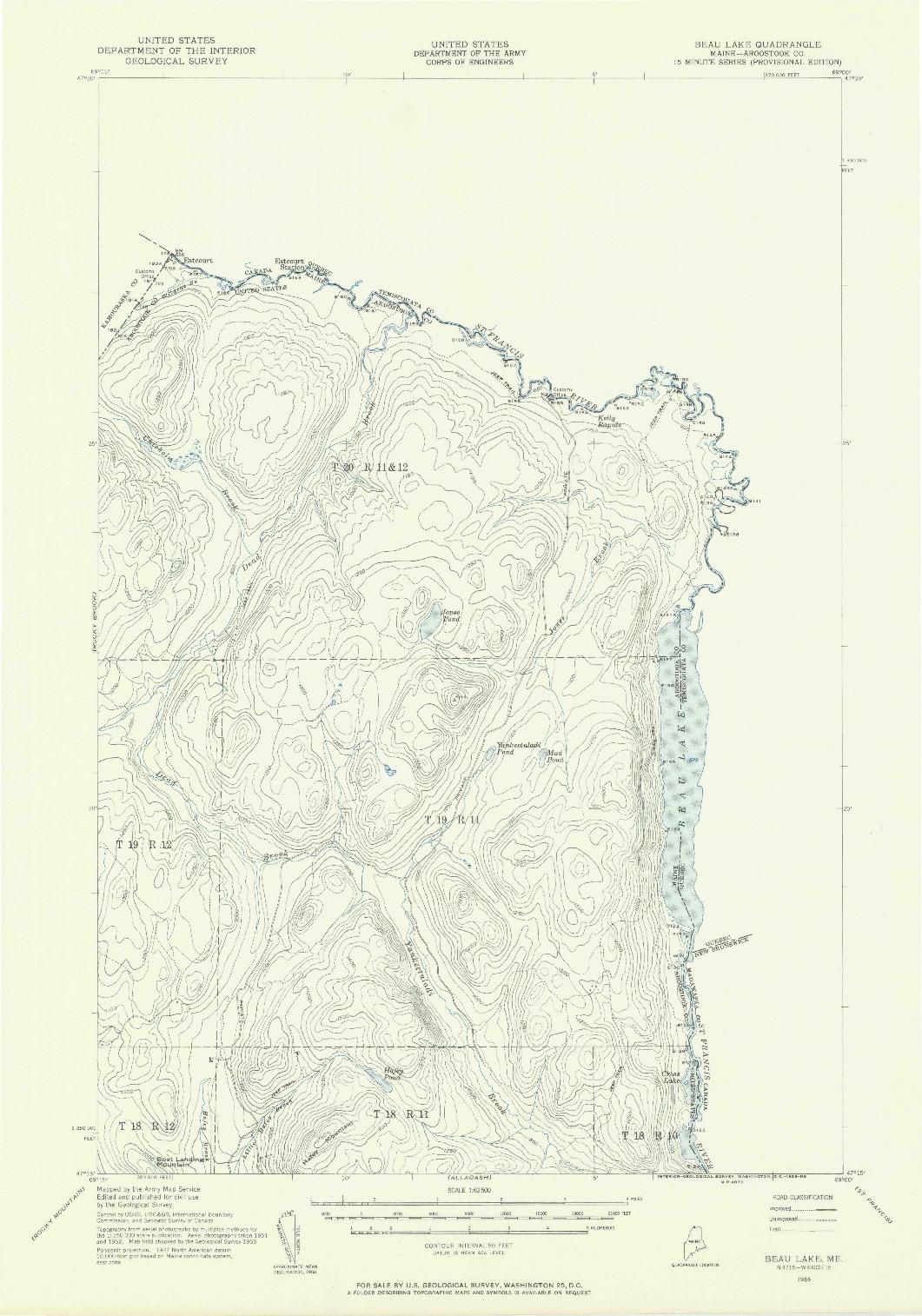 USGS 1:62500-SCALE QUADRANGLE FOR BEAU LAKE, ME 1955