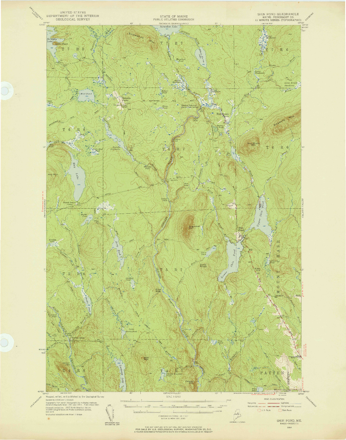 USGS 1:62500-SCALE QUADRANGLE FOR SHIN POND, ME 1954